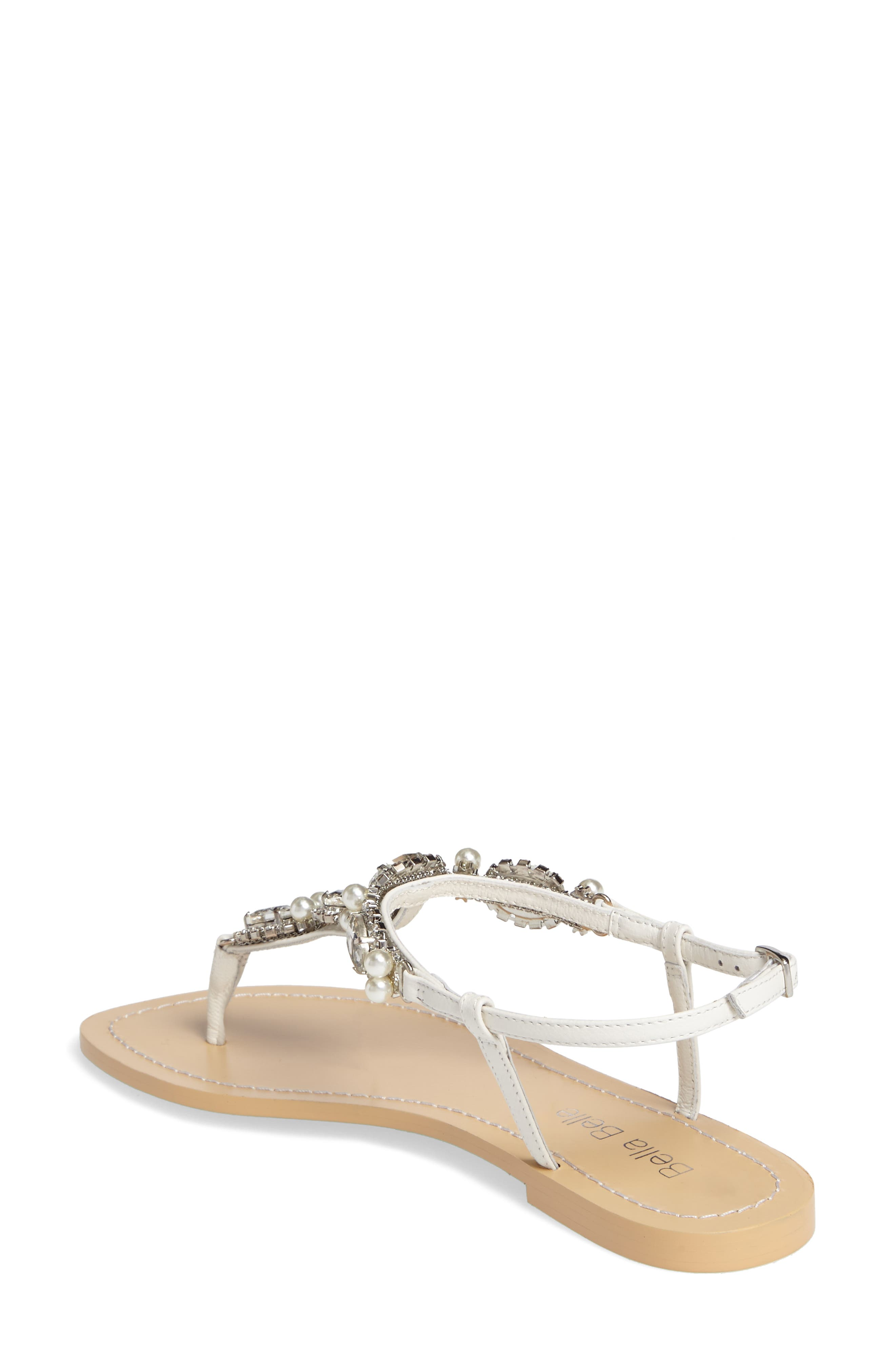 Hera Embellished T-Strap Sandal,                             Alternate thumbnail 2, color,                             OFF WHITE LEATHER