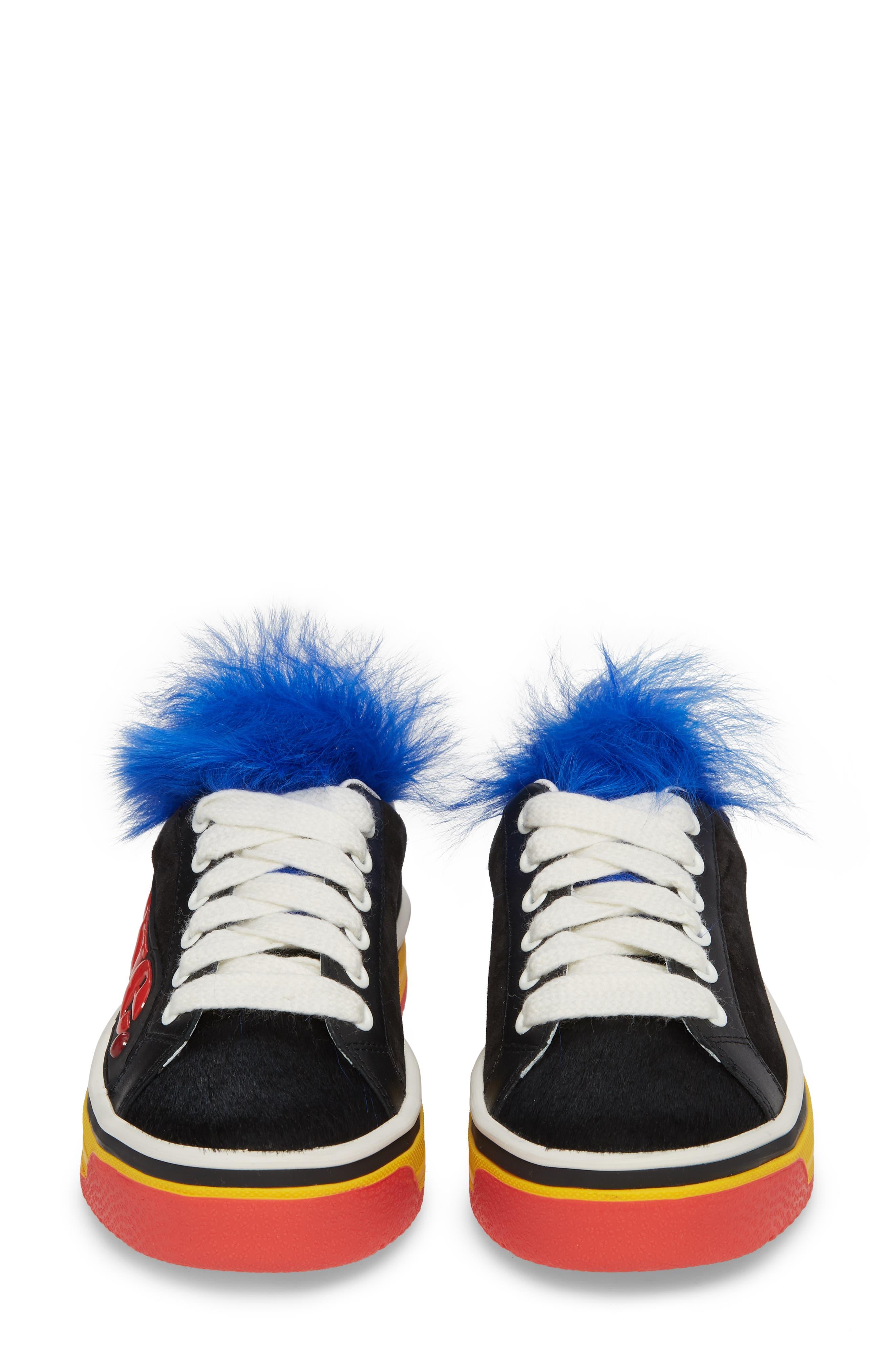 Empire Love Genuine Shearling & Calf Hair Trim Sneaker,                             Alternate thumbnail 5, color,                             BLACK MULTI