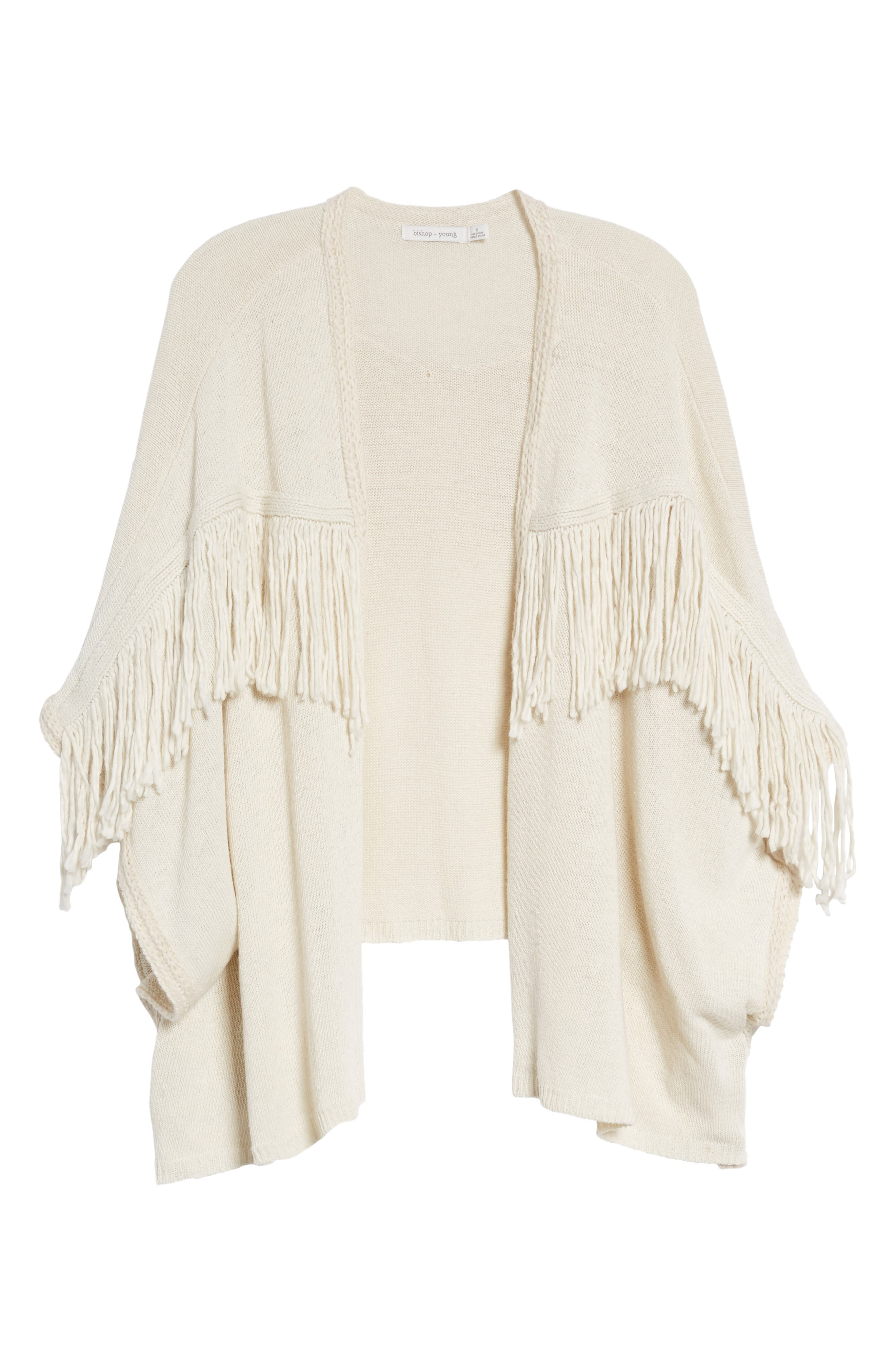 Bishop + Young Fringe Open Front Cardigan,                             Alternate thumbnail 6, color,                             IVORY