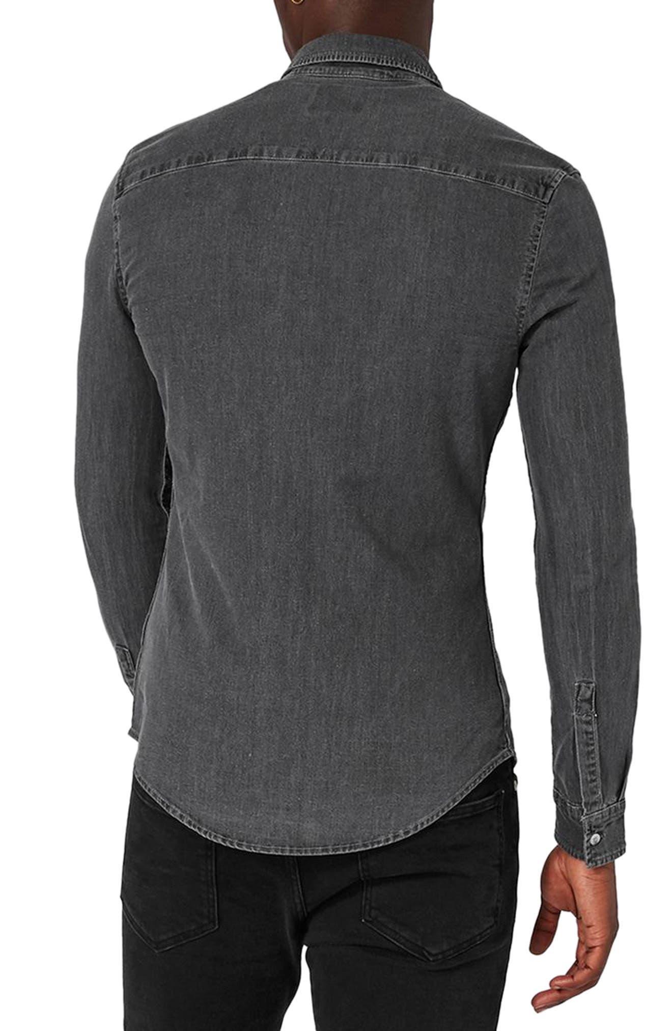 Muscle Fit Bleach Denim Shirt,                             Alternate thumbnail 2, color,                             020