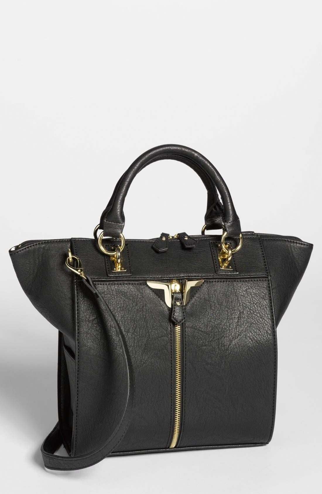 DANIELLE NICOLE 'Alexa' Faux Leather Satchel, Medium, Main, color, 001