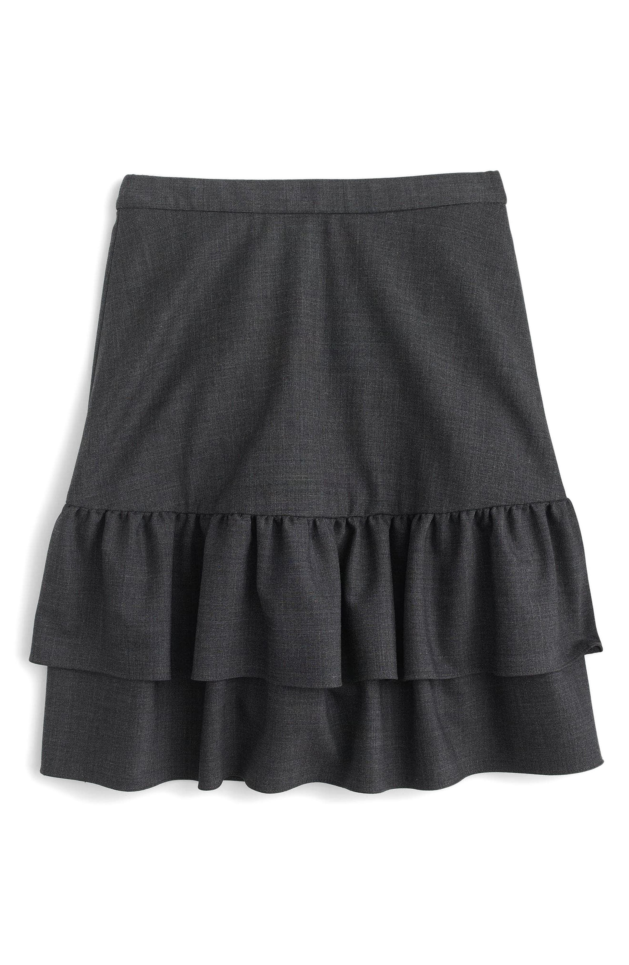 Wool Flannel Ruffle Skirt,                             Alternate thumbnail 4, color,                             020