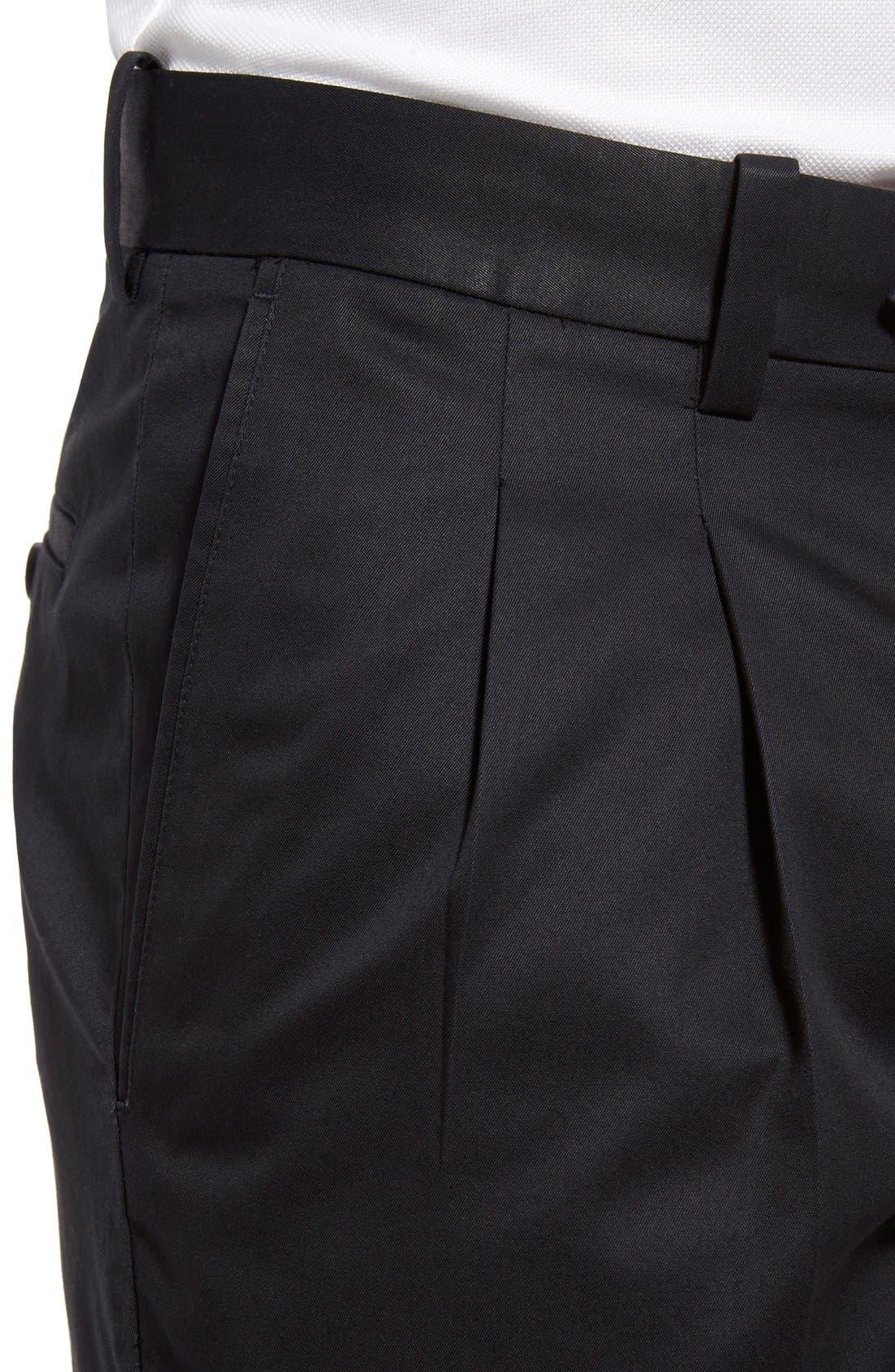 Classic Smartcare<sup>™</sup> Supima<sup>®</sup> Cotton Pleated Trousers,                             Alternate thumbnail 5, color,                             BLACK CAVIAR