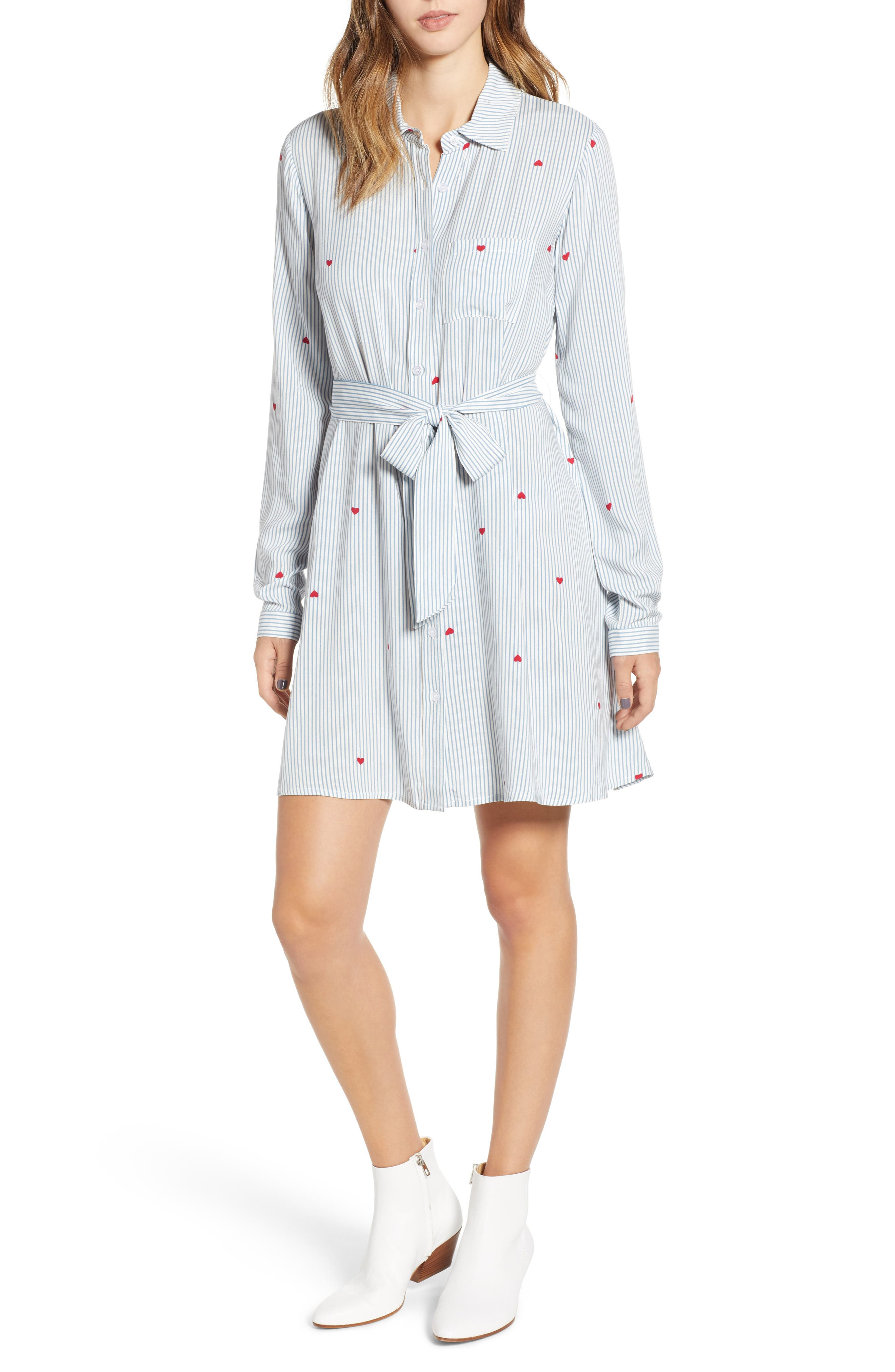 LOVE, FIRE Hattie Heart Shirtdress, Main, color, 400