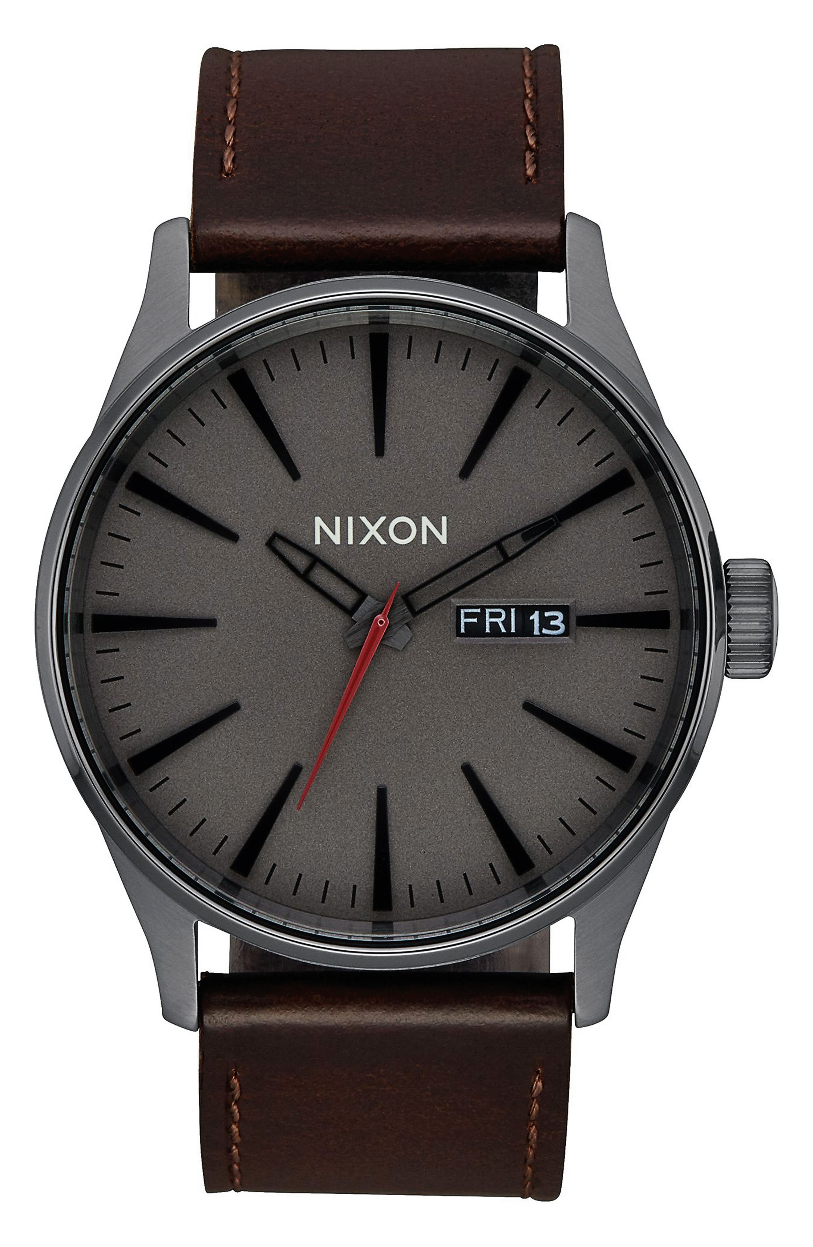 The Sentry Leather Strap Watch, 42mm,                             Alternate thumbnail 40, color,