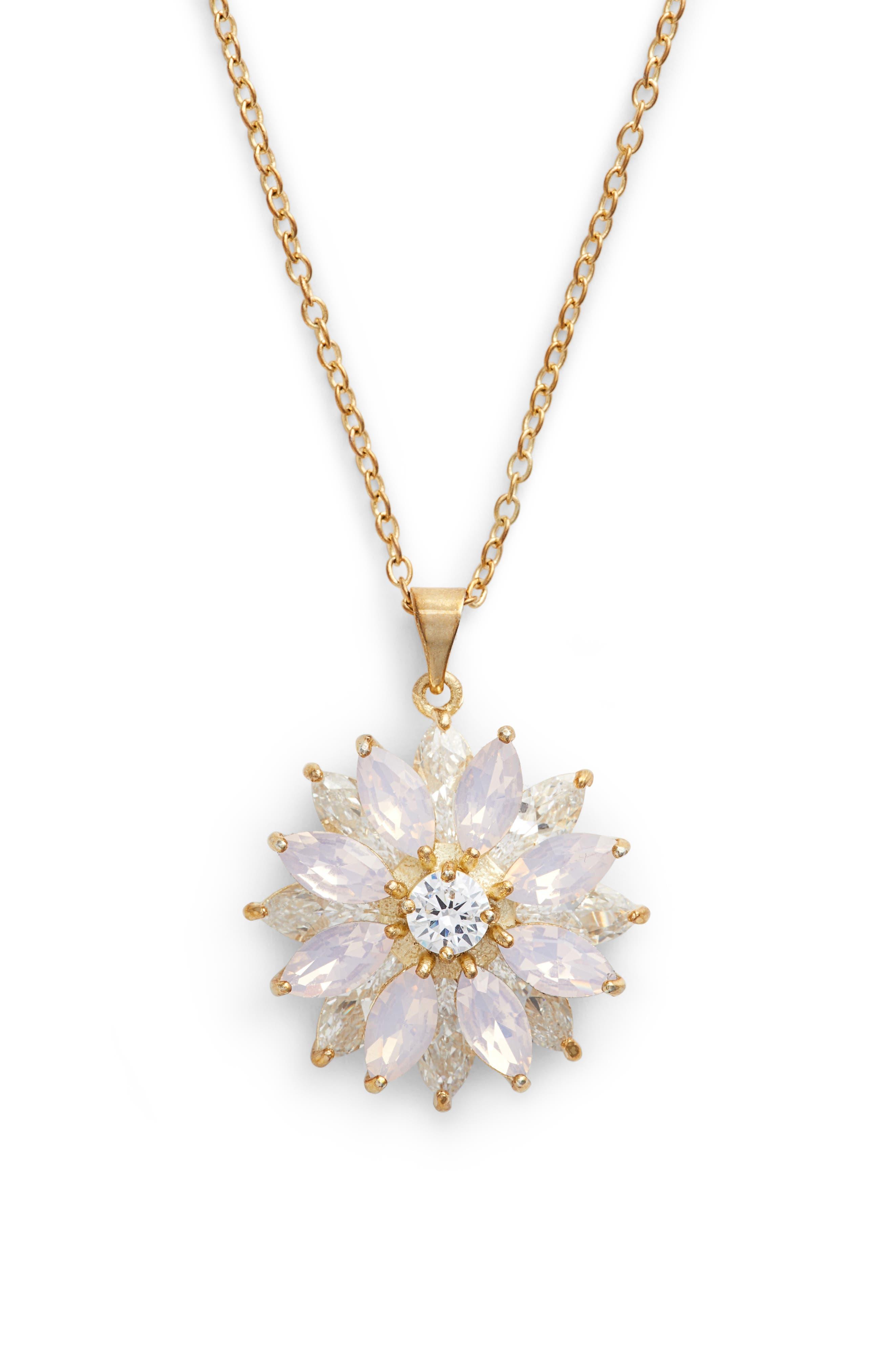 Layer Floral Pendant Necklace,                         Main,                         color, PINK OPAL/ GOLD