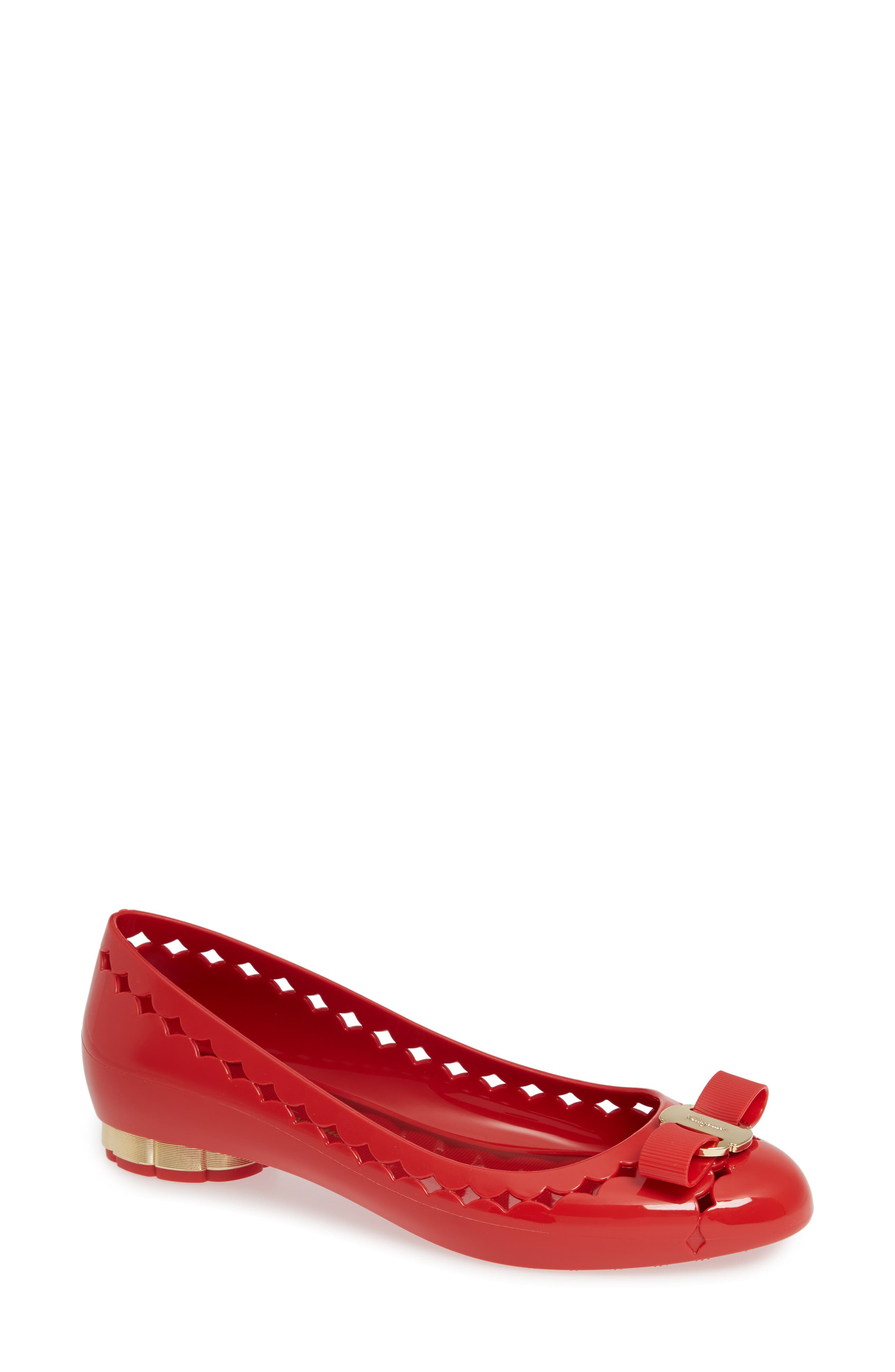 Jelly Ballerina Flat,                         Main,                         color, RED