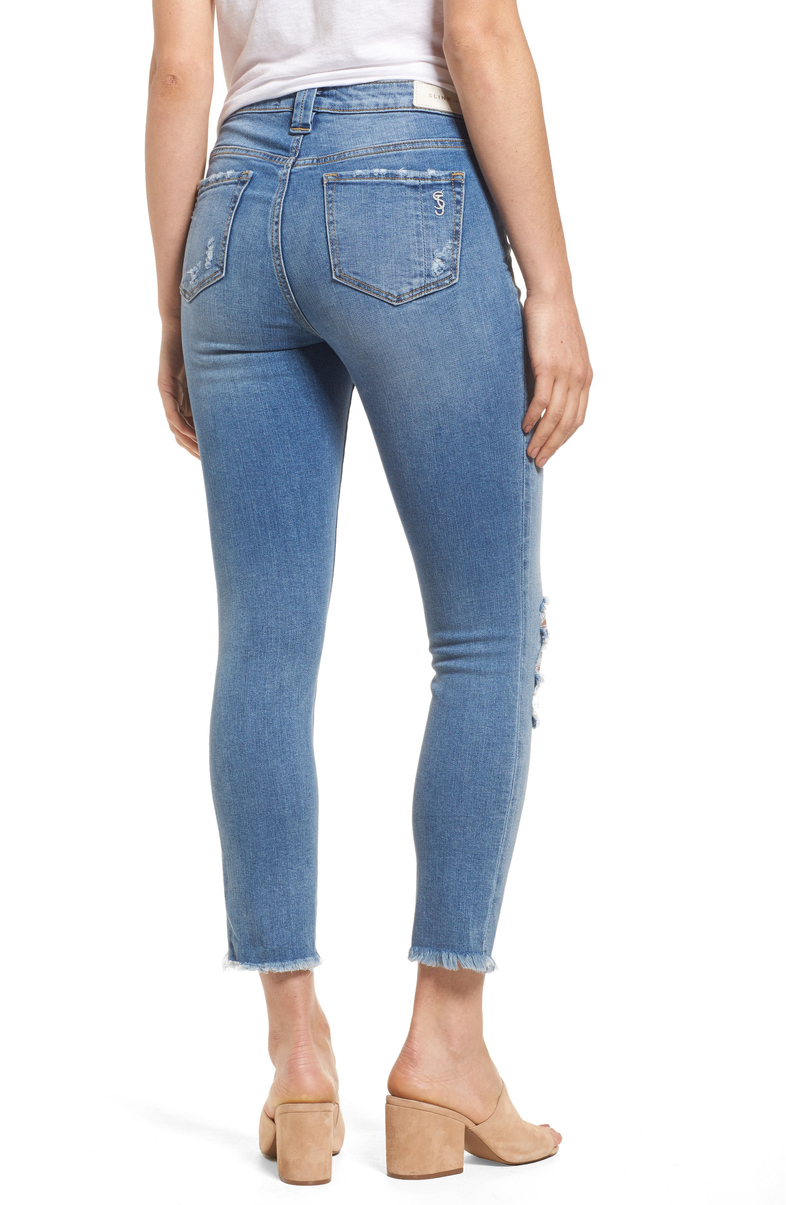 Frayed Hem Ankle Jeans,                             Alternate thumbnail 2, color,                             EDEN