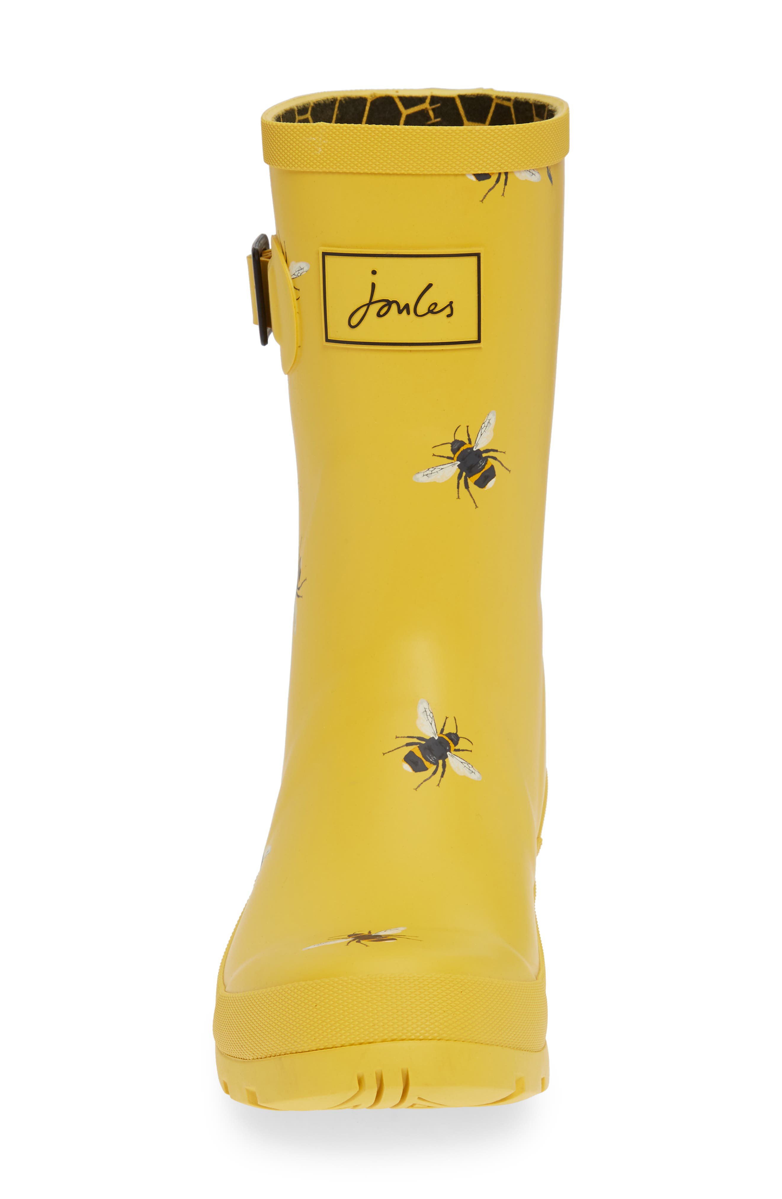 Print Molly Welly Rain Boot,                             Alternate thumbnail 4, color,                             GOLD BOTANICAL BEES