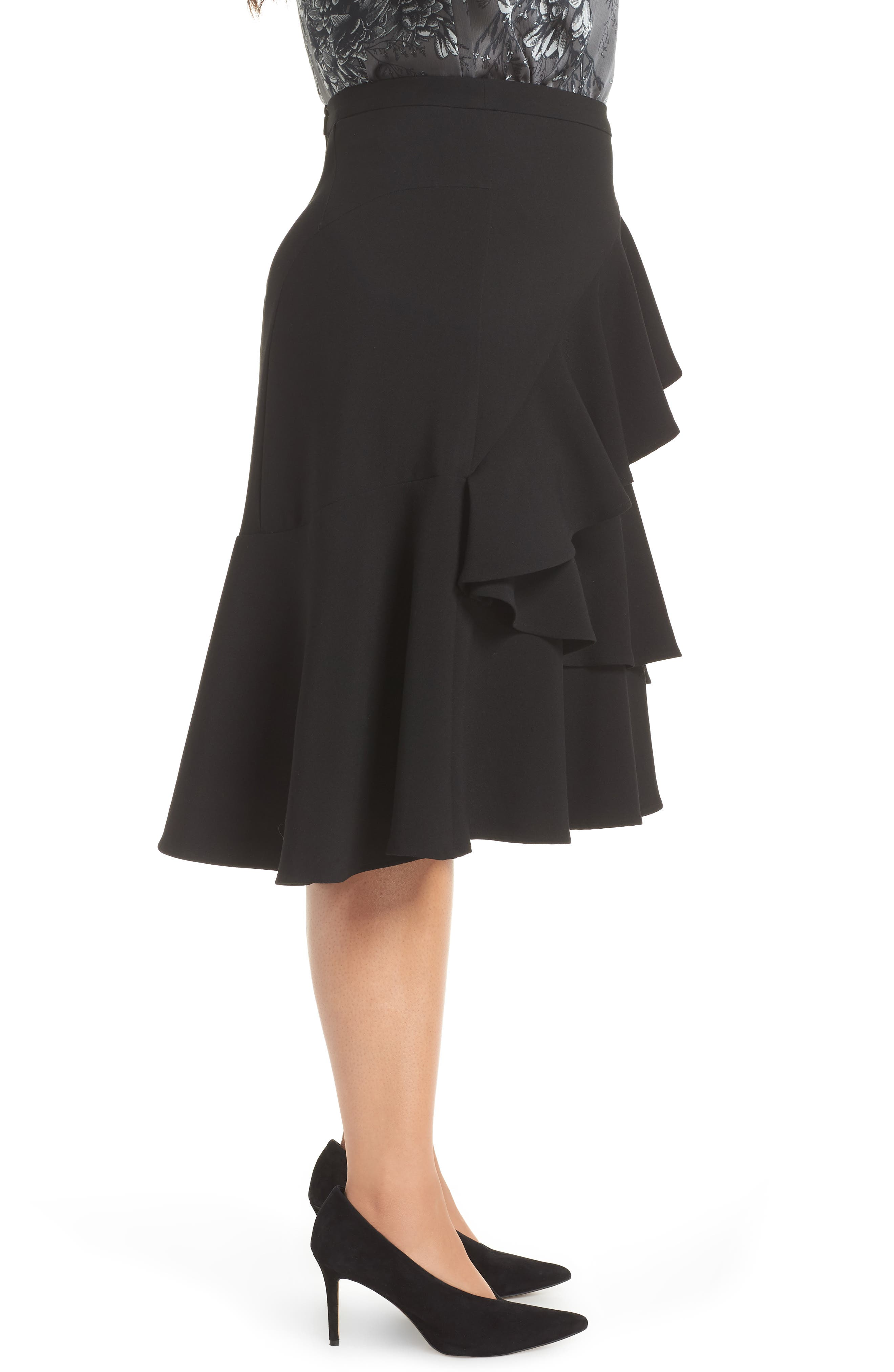 Tiered Ruffle Crepe Skirt,                             Alternate thumbnail 3, color,                             RICH BLACK