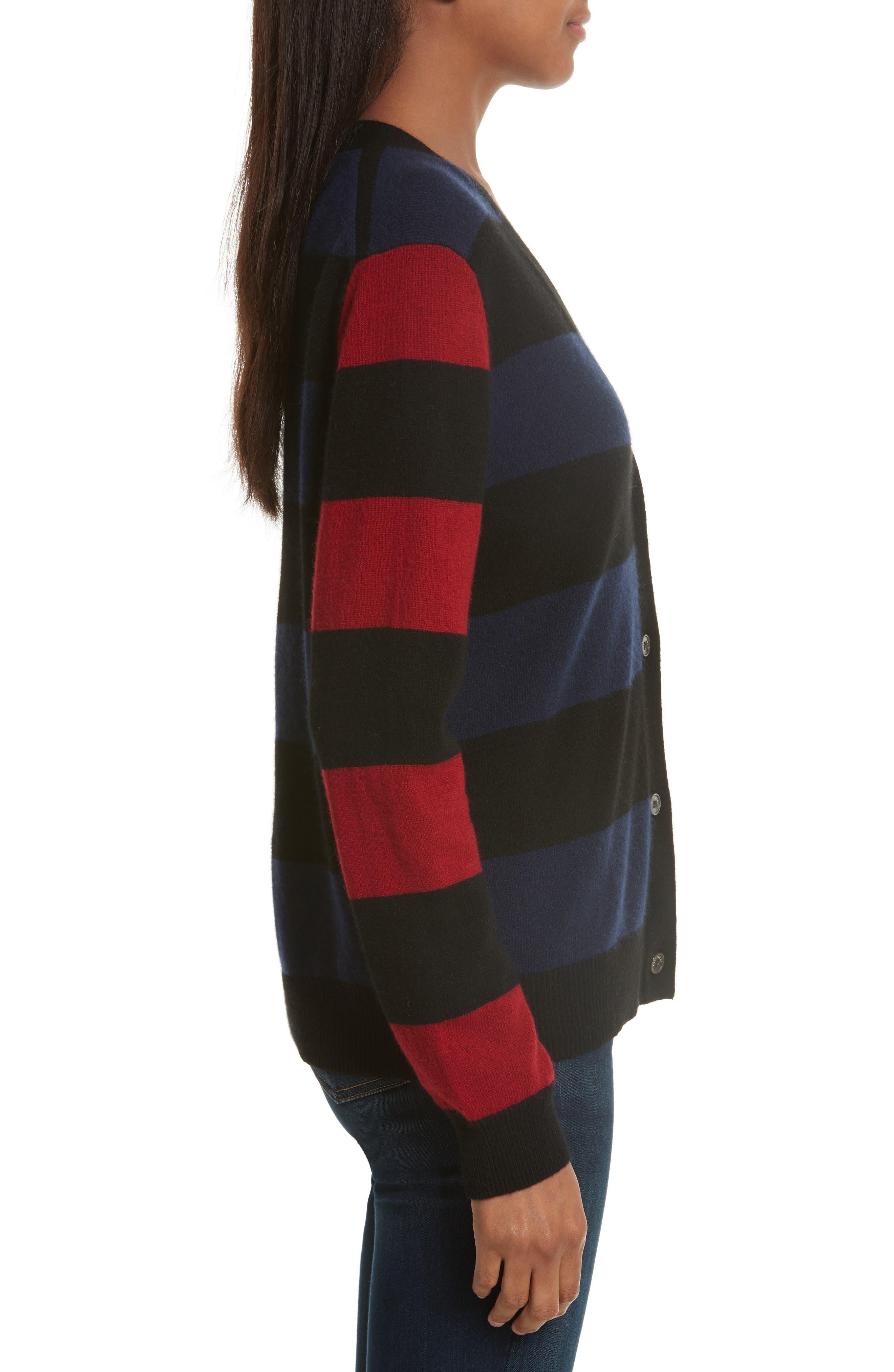 Shelly Stripe Cashmere Cardigan,                             Alternate thumbnail 3, color,                             001
