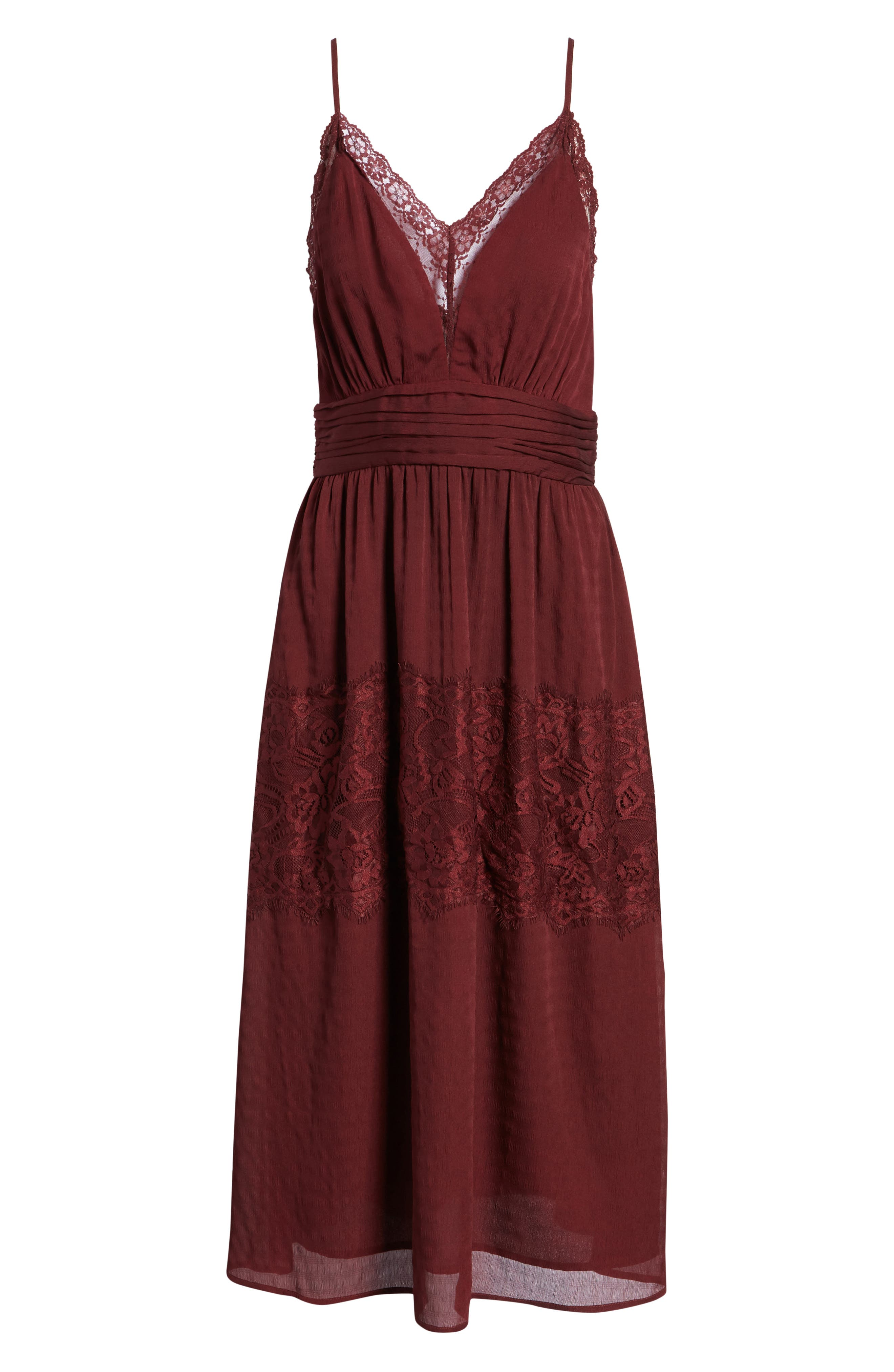 Lace Trim Midi Dress,                             Alternate thumbnail 7, color,                             930