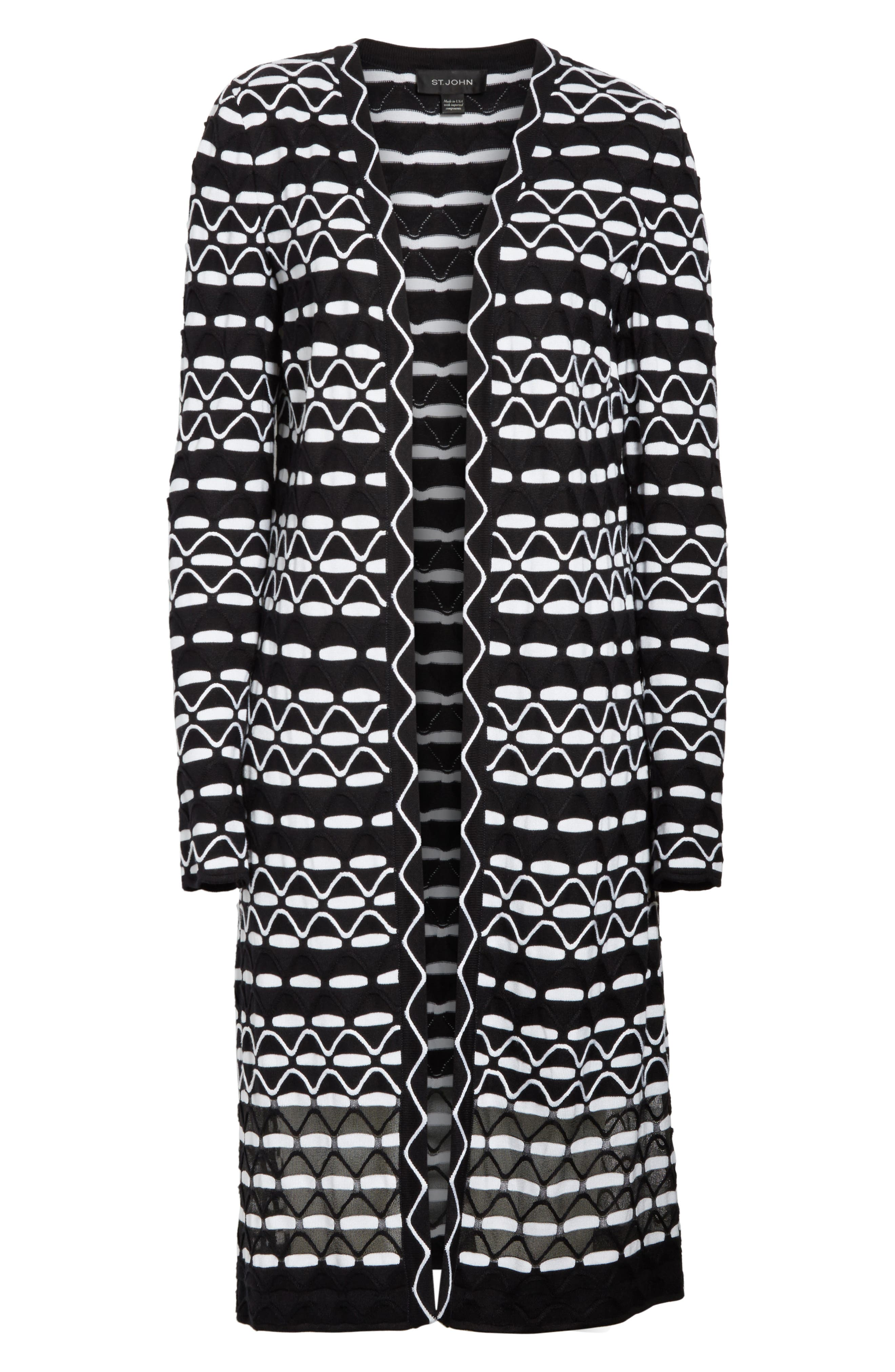 Textural Wave Knit Cardigan,                             Alternate thumbnail 6, color,                             001