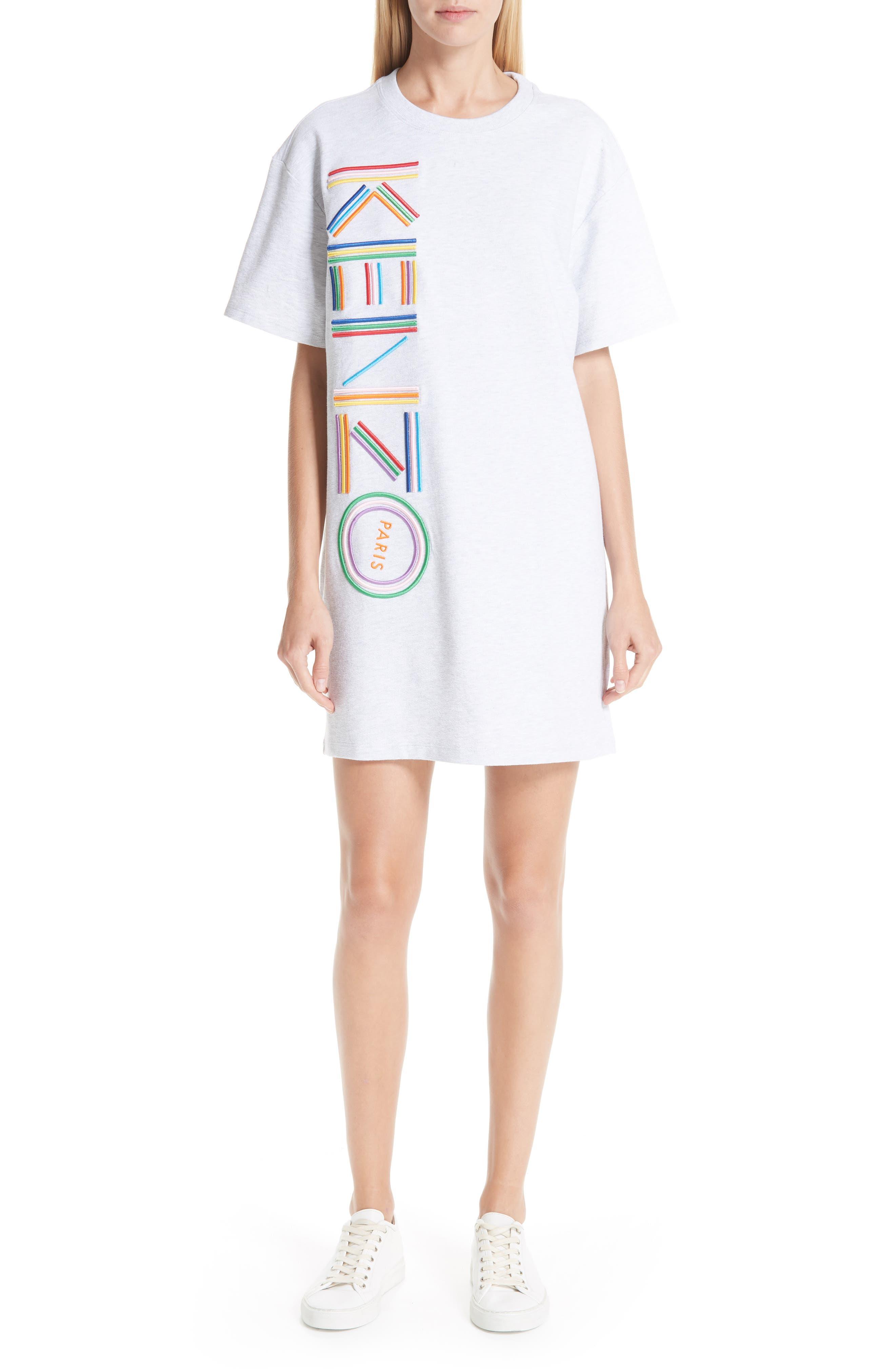 High Summer Logo T-Shirt Dress,                         Main,                         color, PALE GREY
