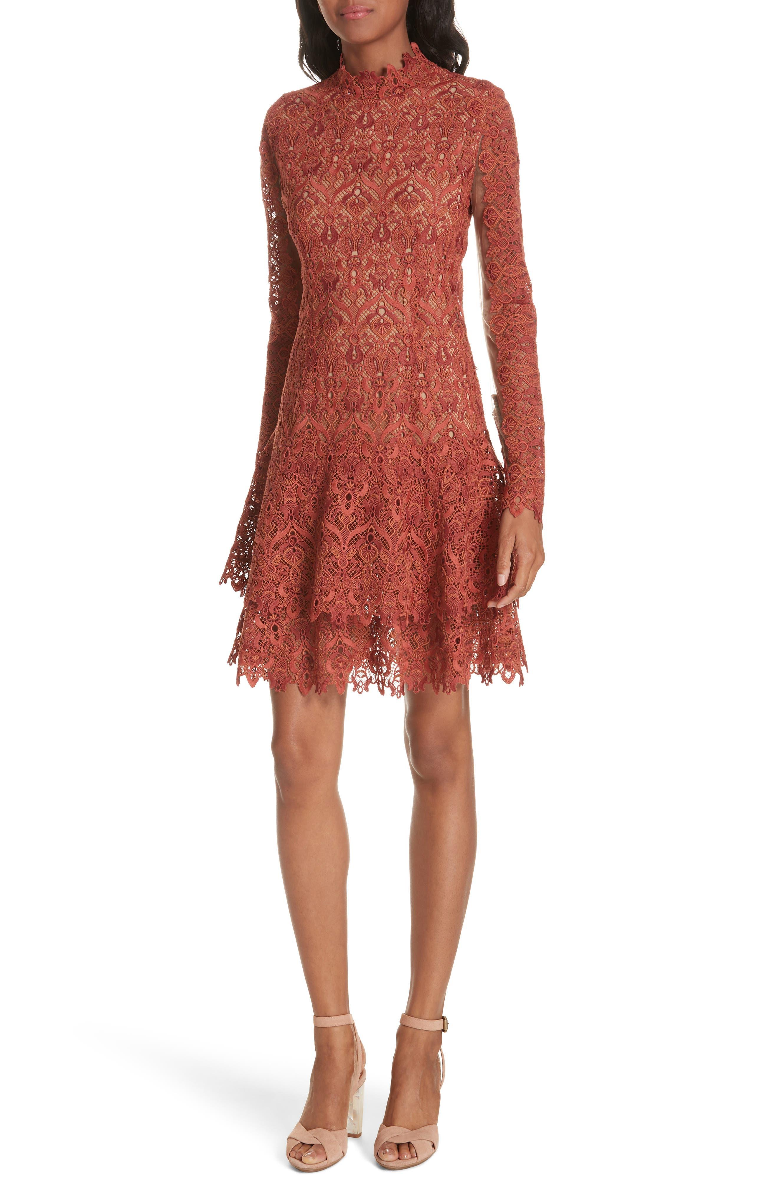 Jonathan Simkhai Guipure Lace Layer Hem Dress, Brown