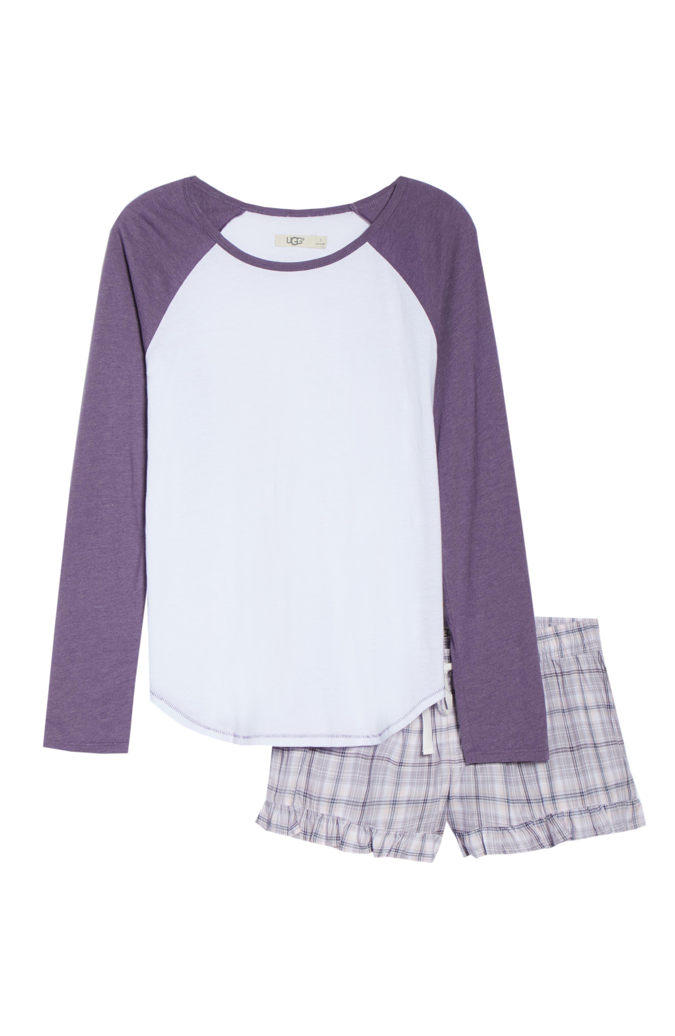 Charly Short Pajamas,                             Alternate thumbnail 6, color,                             LAVENDER AURA PLAID