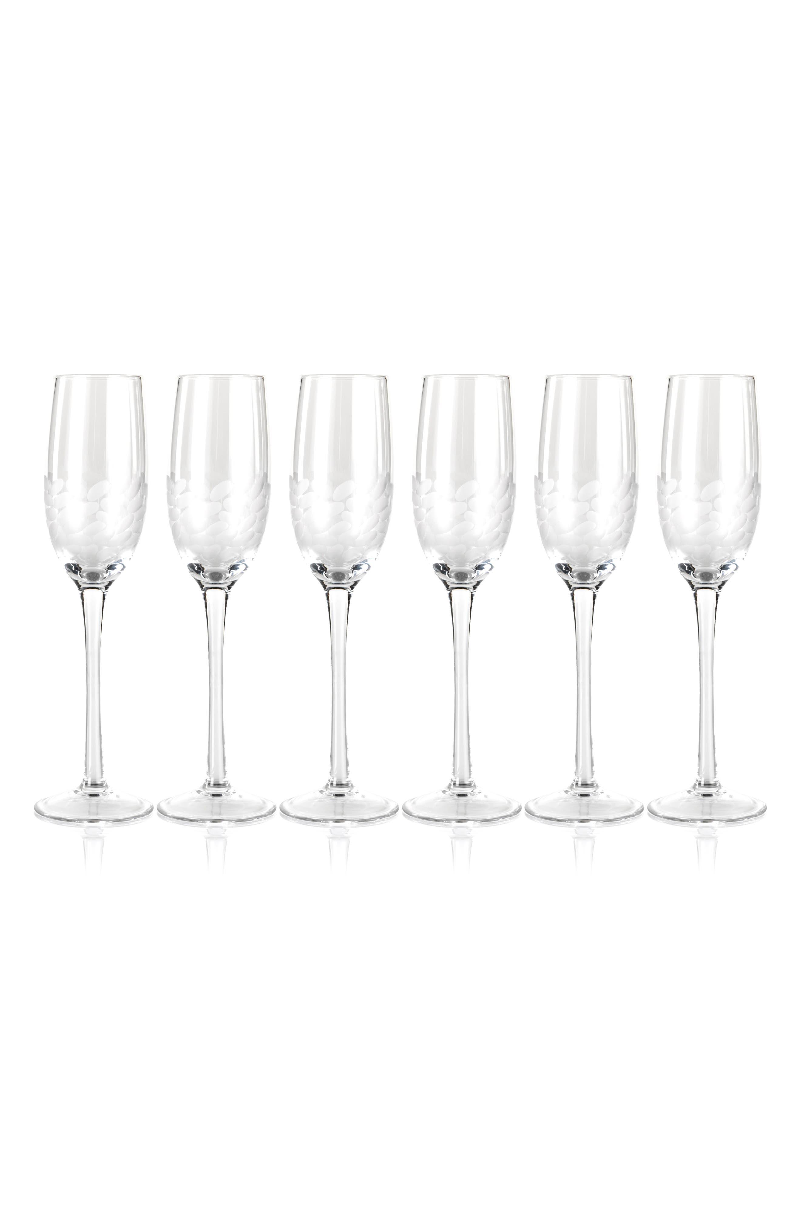 Villa Set of 6 Champagne Flutes,                             Main thumbnail 1, color,                             CLEAR