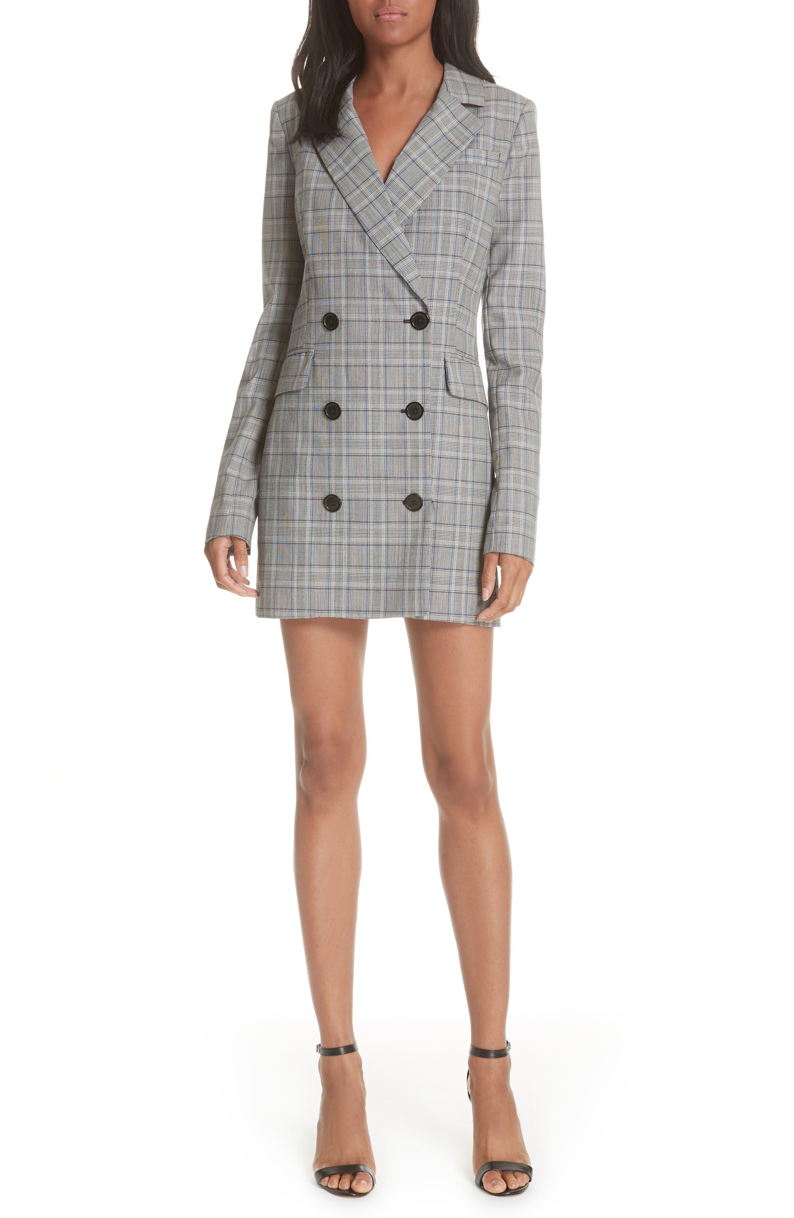 Cotton Suiting Blazer Dress,                             Main thumbnail 1, color,                             087