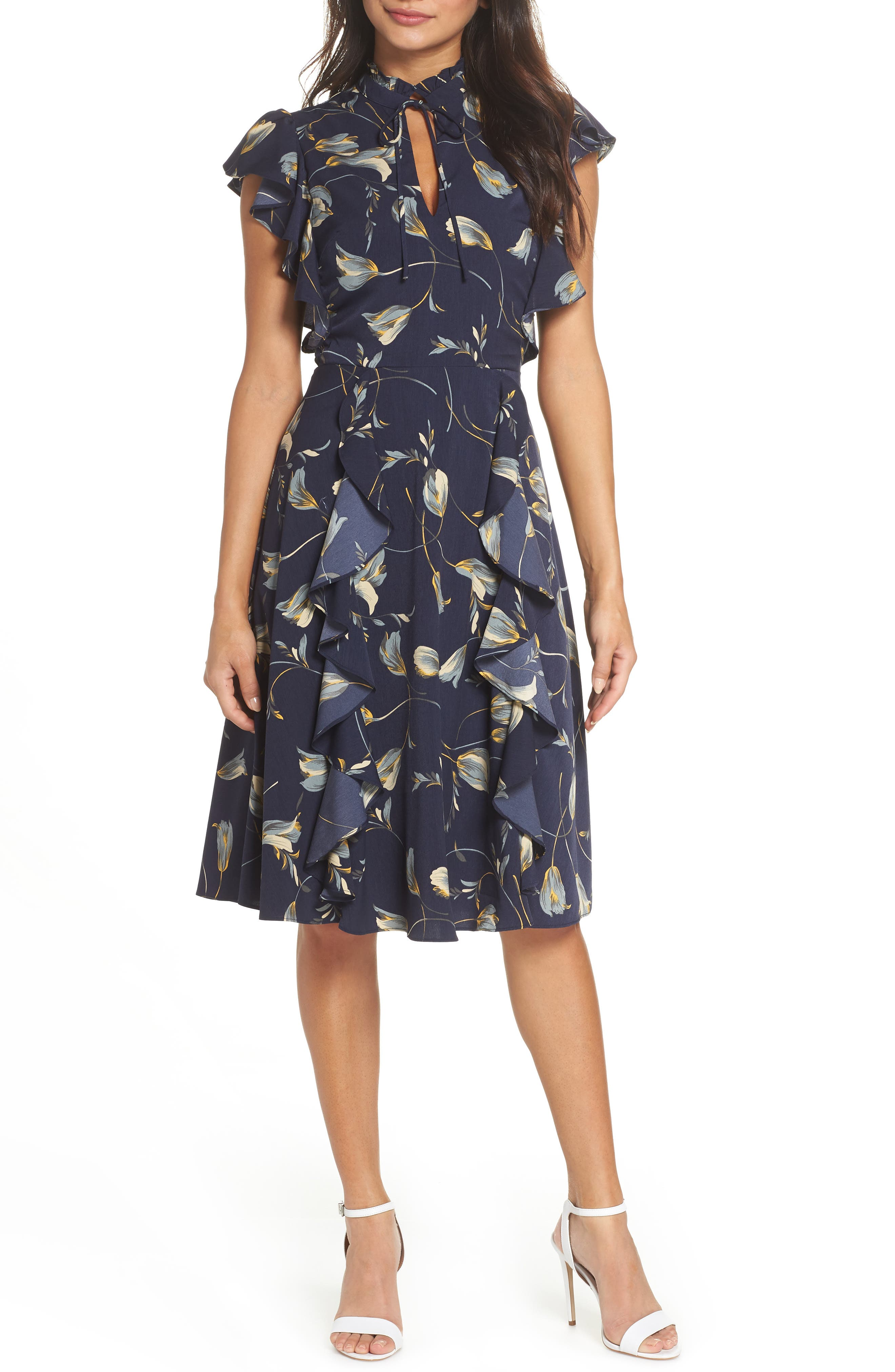 Chelsea28 Ruffle Front Print A-Line Dress, Blue