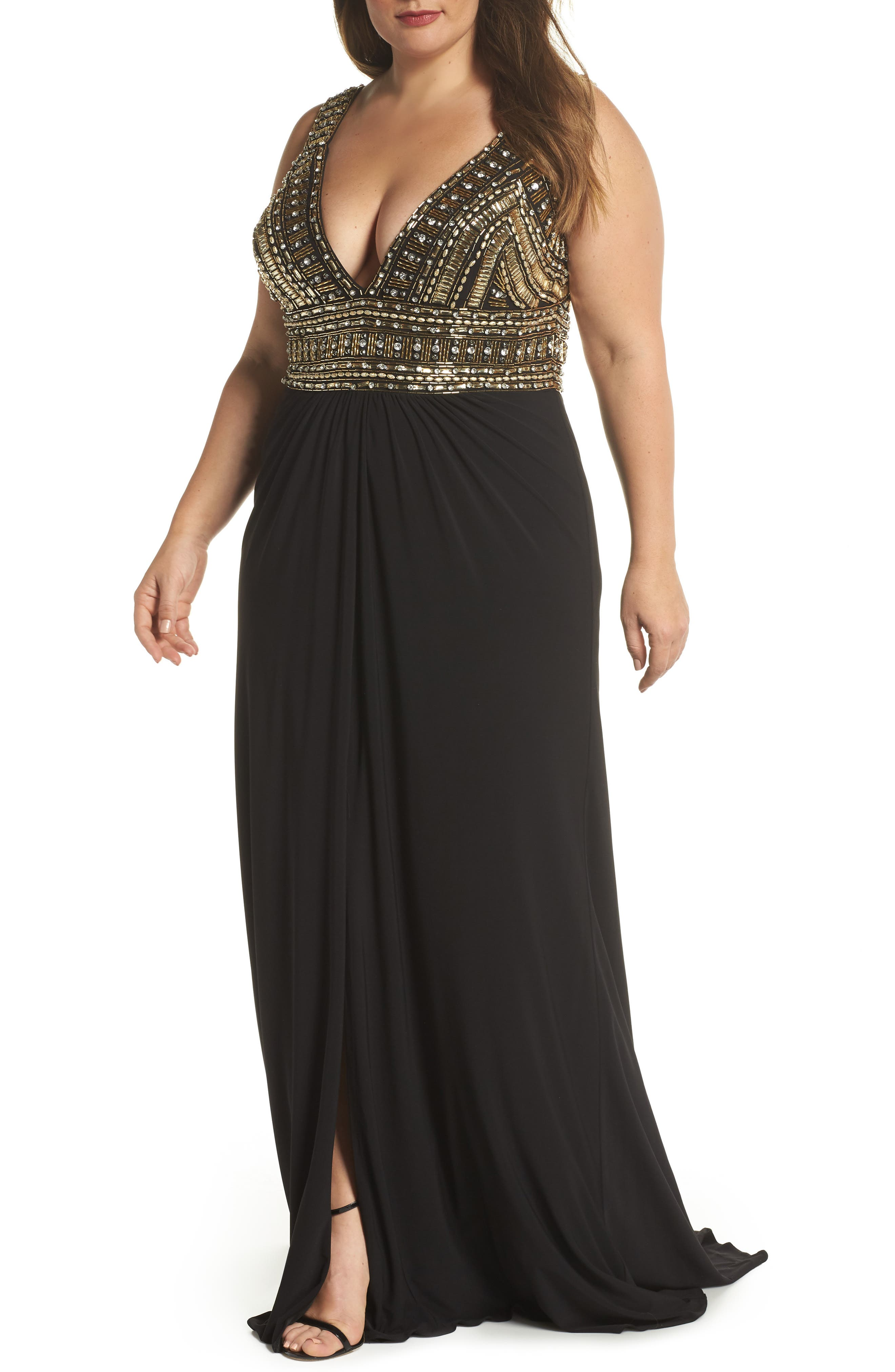 Embellished Gown,                             Main thumbnail 1, color,                             BLACK/ GOLD