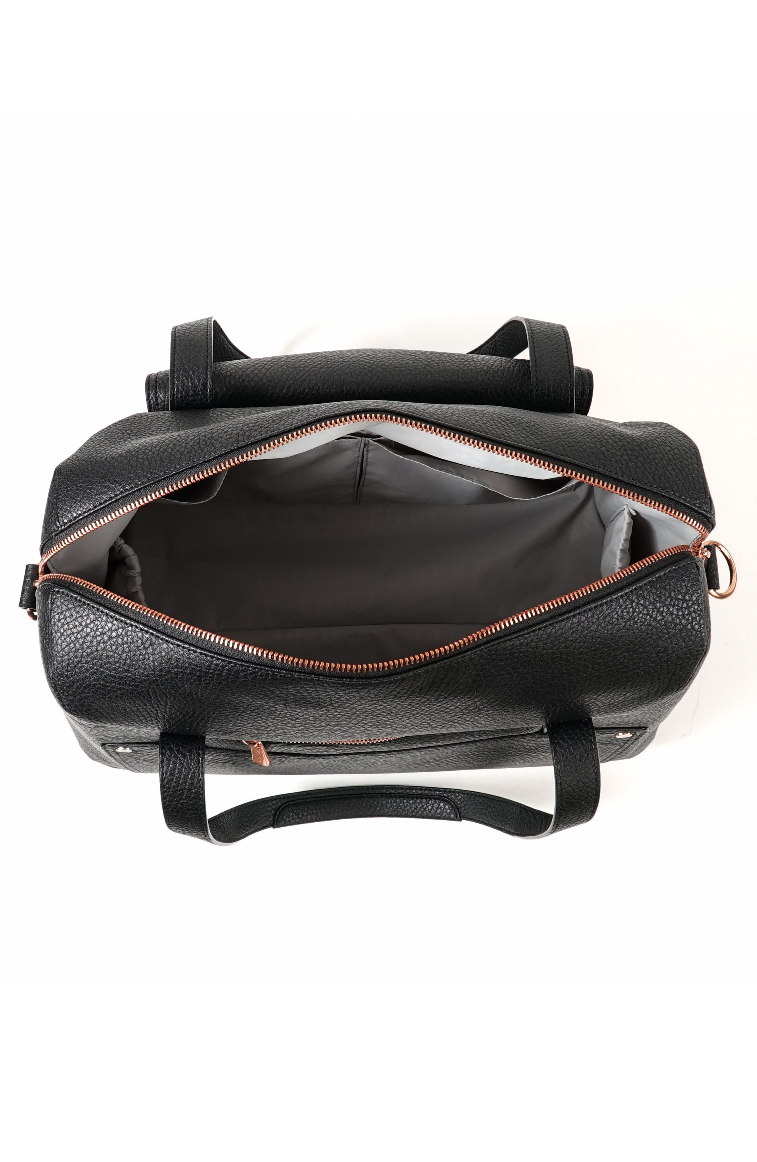 Ever Collection Wherever Faux Leather Weekend Diaper Bag,                             Alternate thumbnail 3, color,                             NOIR ROSE