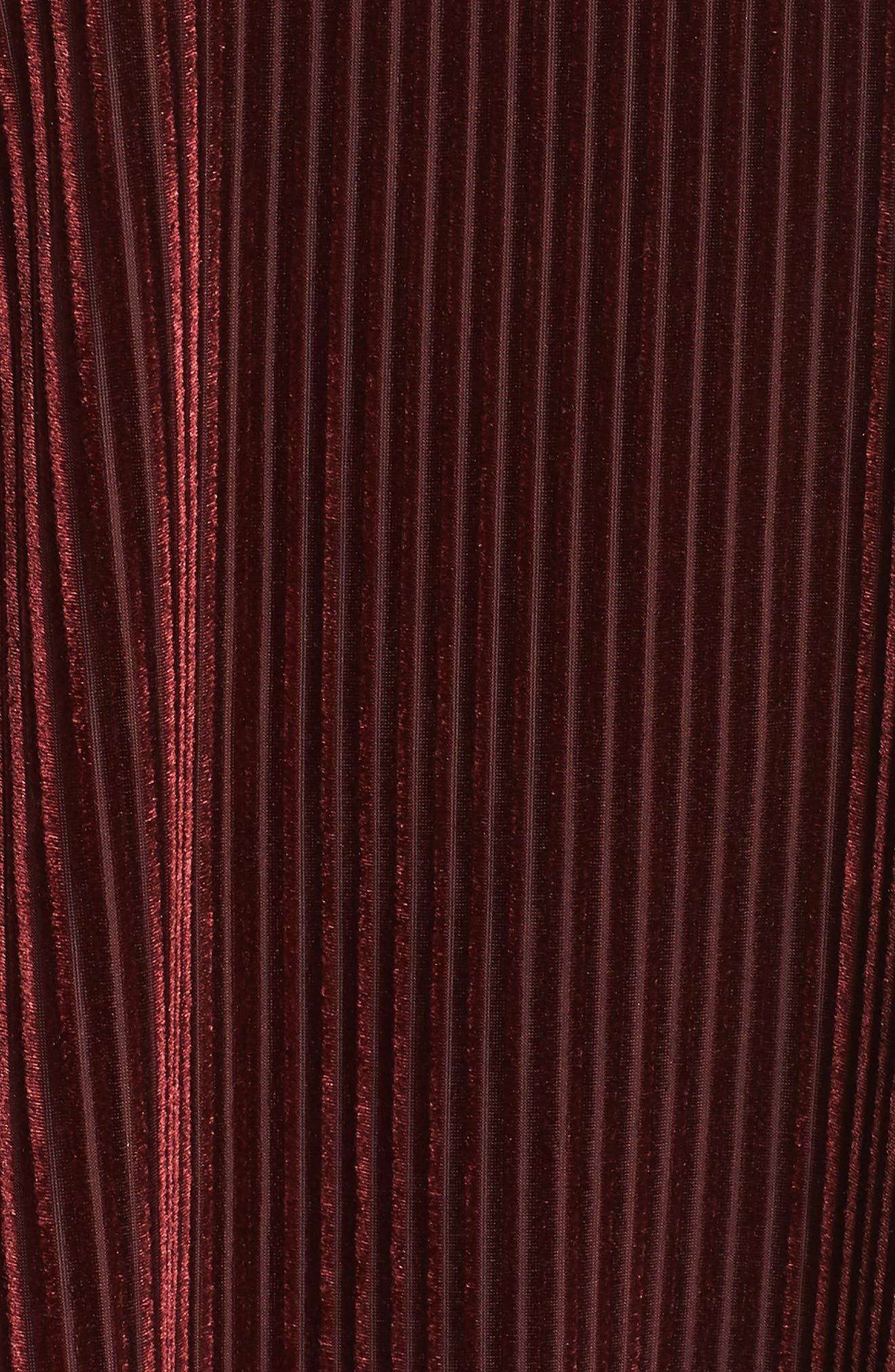 Shadow Stripe Velour Top,                             Alternate thumbnail 5, color,                             BURGUNDY