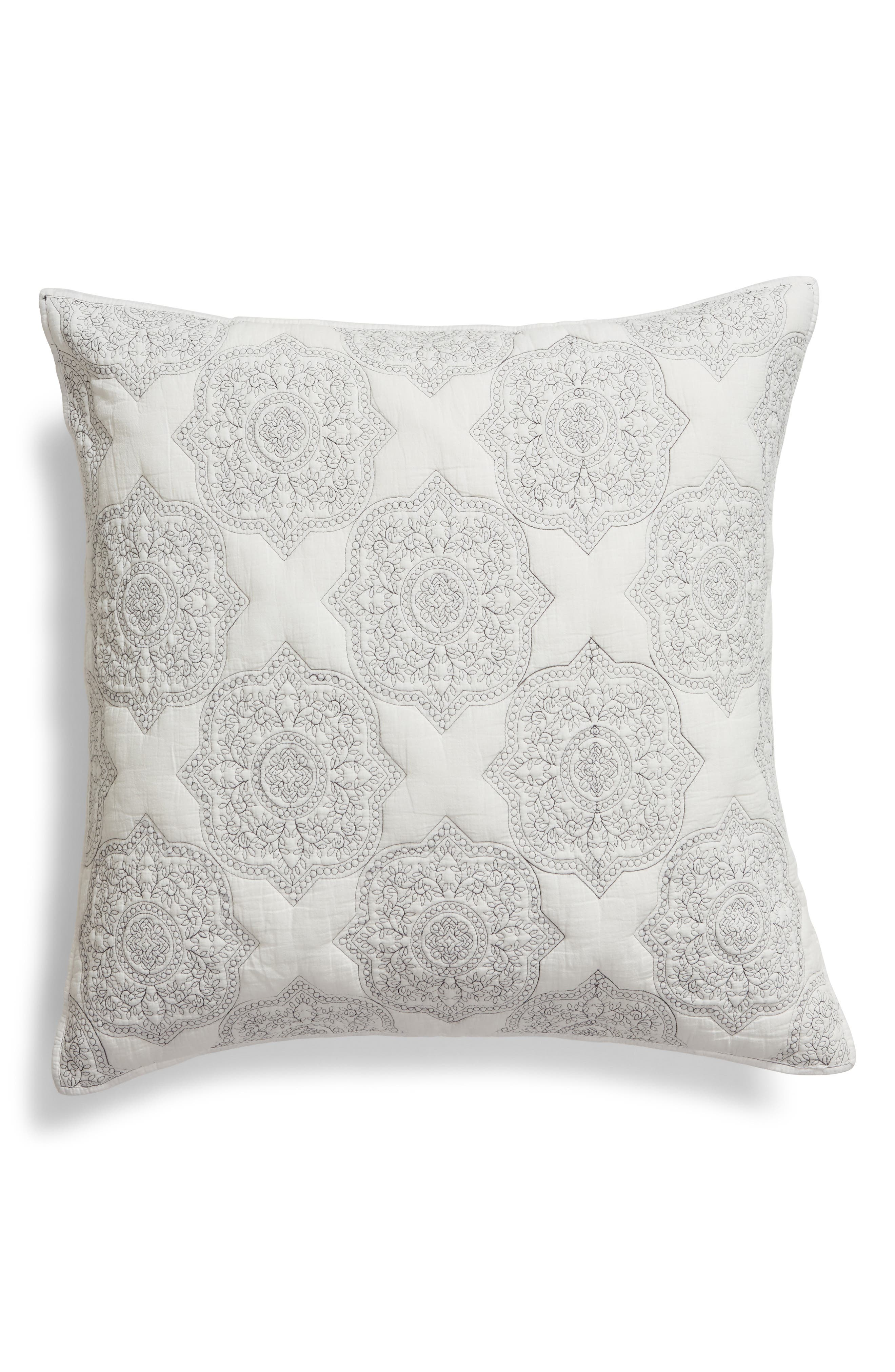 NORDSTROM AT HOME Ria Embroidered Sham, Main, color, IVORY