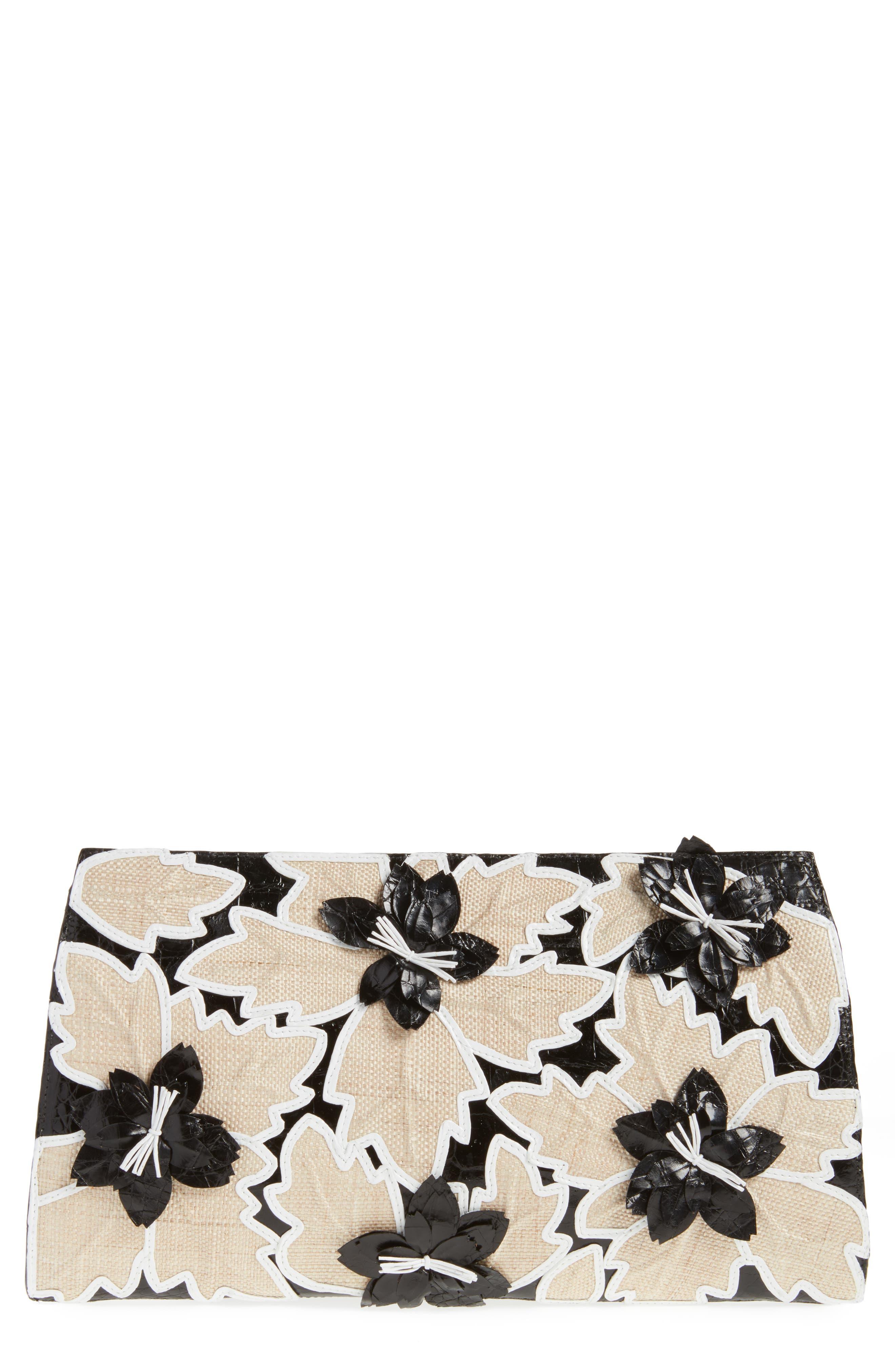 Floral Embellished Genuine Crocodile Clutch,                         Main,                         color, BLACK/ WHITE