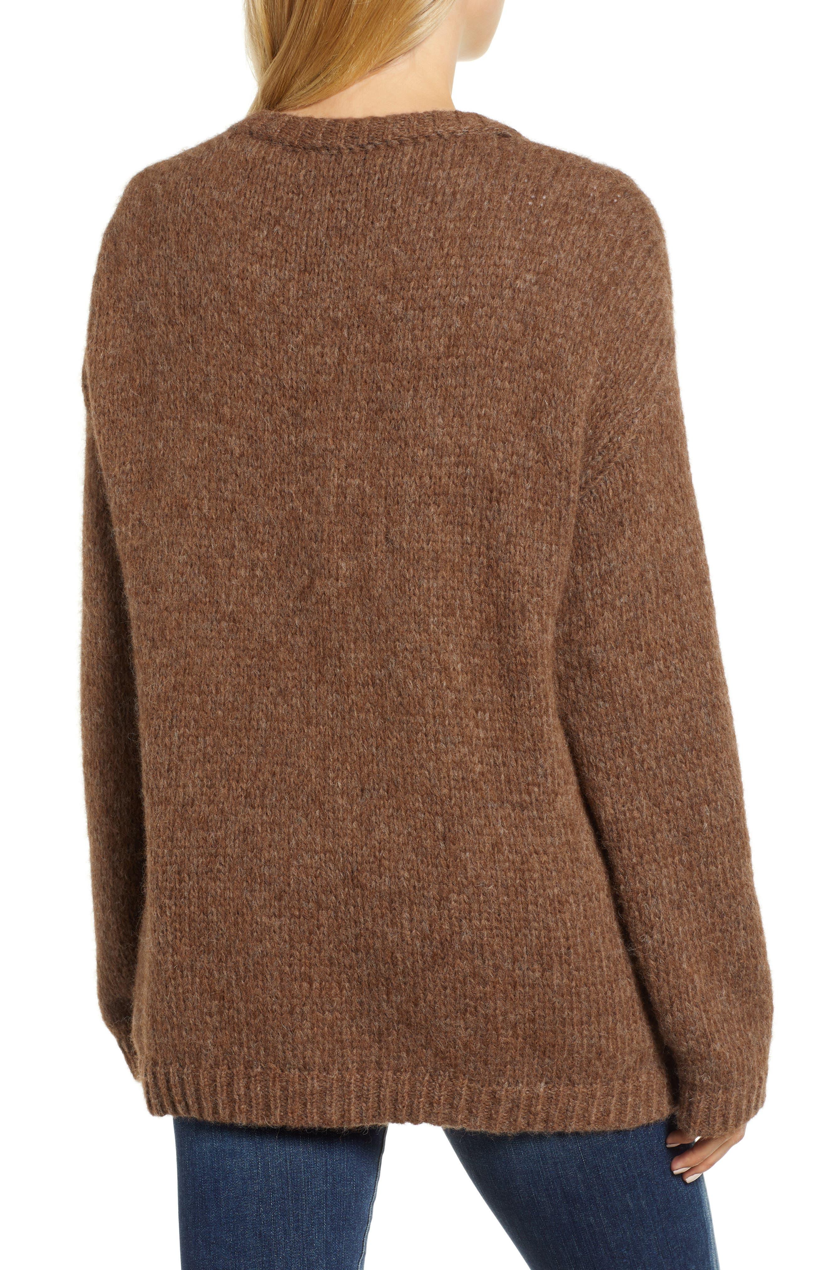 Alpaca Wool Blend Cardigan,                             Alternate thumbnail 2, color,                             CHOCOLATE