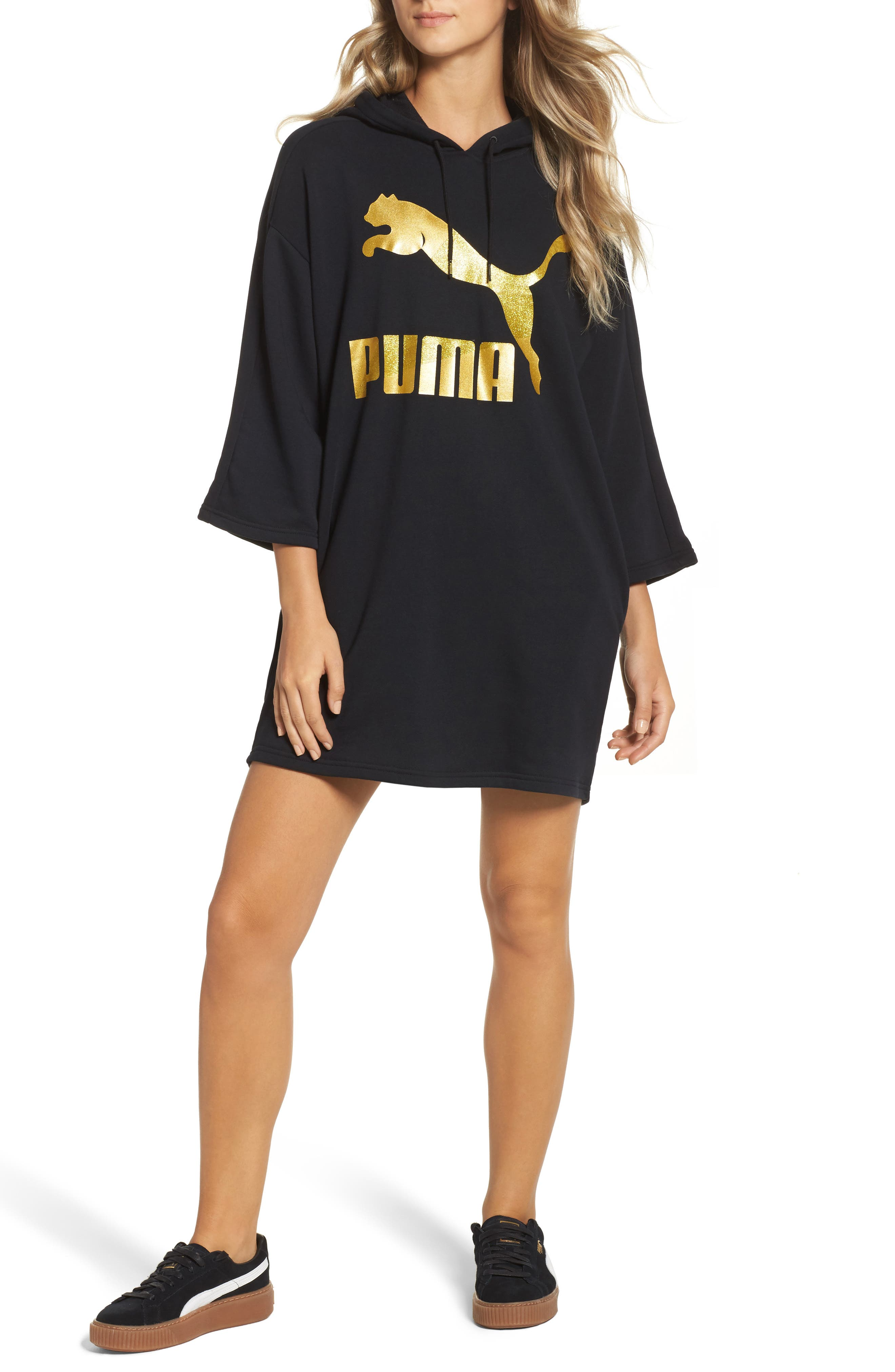 Glam Oversize Hooded Dress,                         Main,                         color, 001
