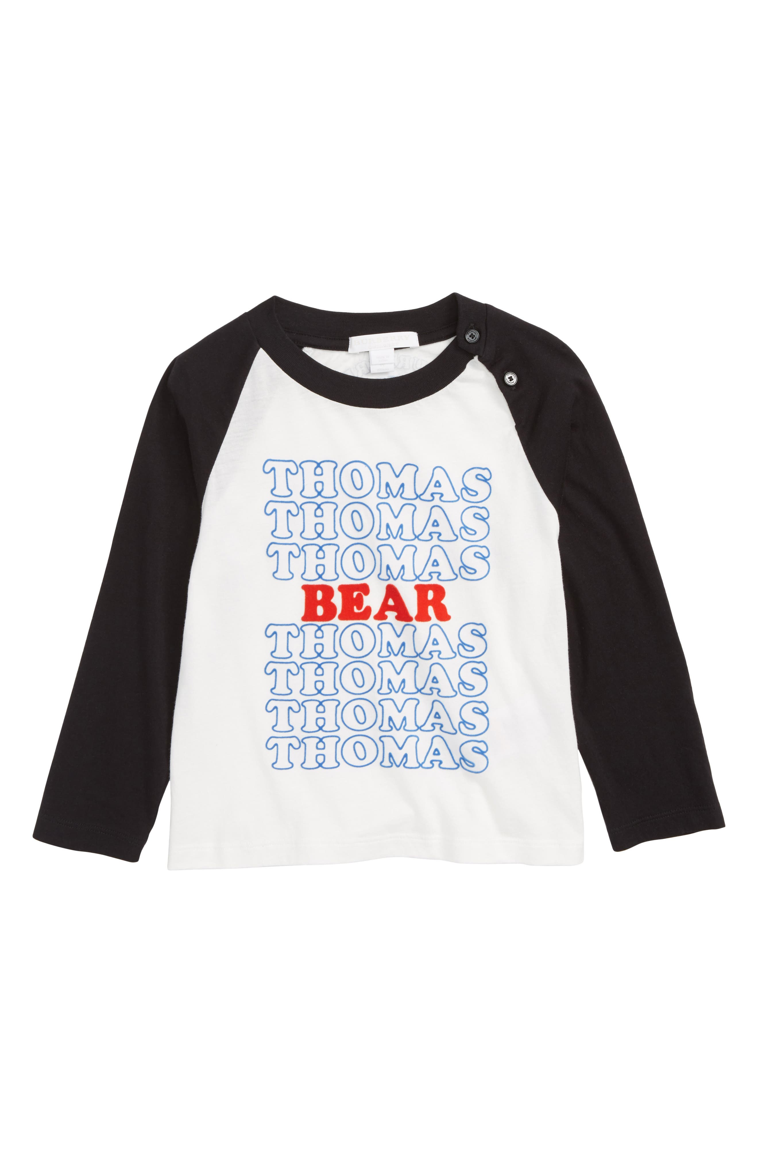 Thomas Bear Raglan Shirt,                             Main thumbnail 1, color,                             WHITE