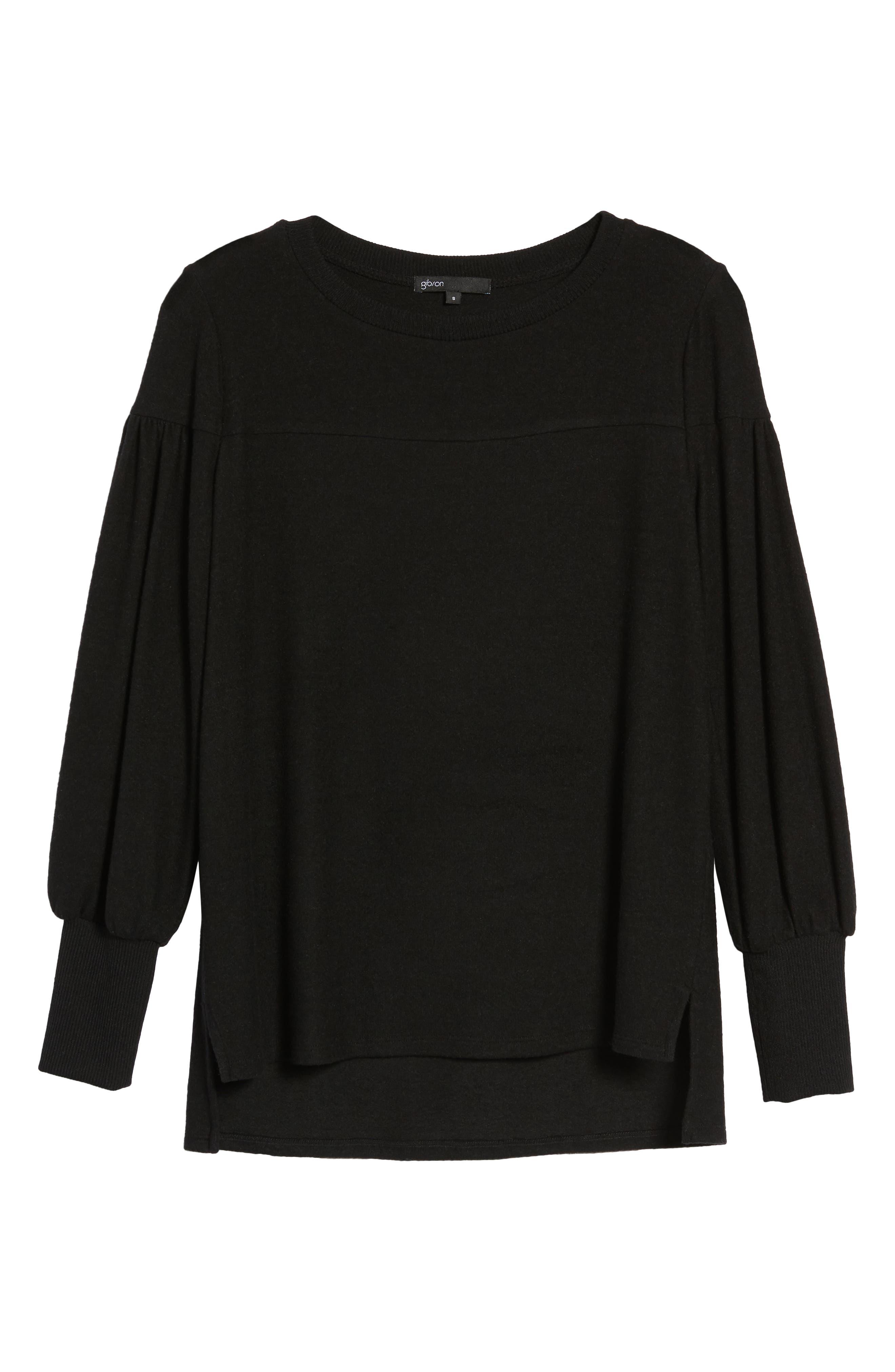 Blouson Sleeve Cozy Fleece Pullover,                             Alternate thumbnail 6, color,                             BLACK