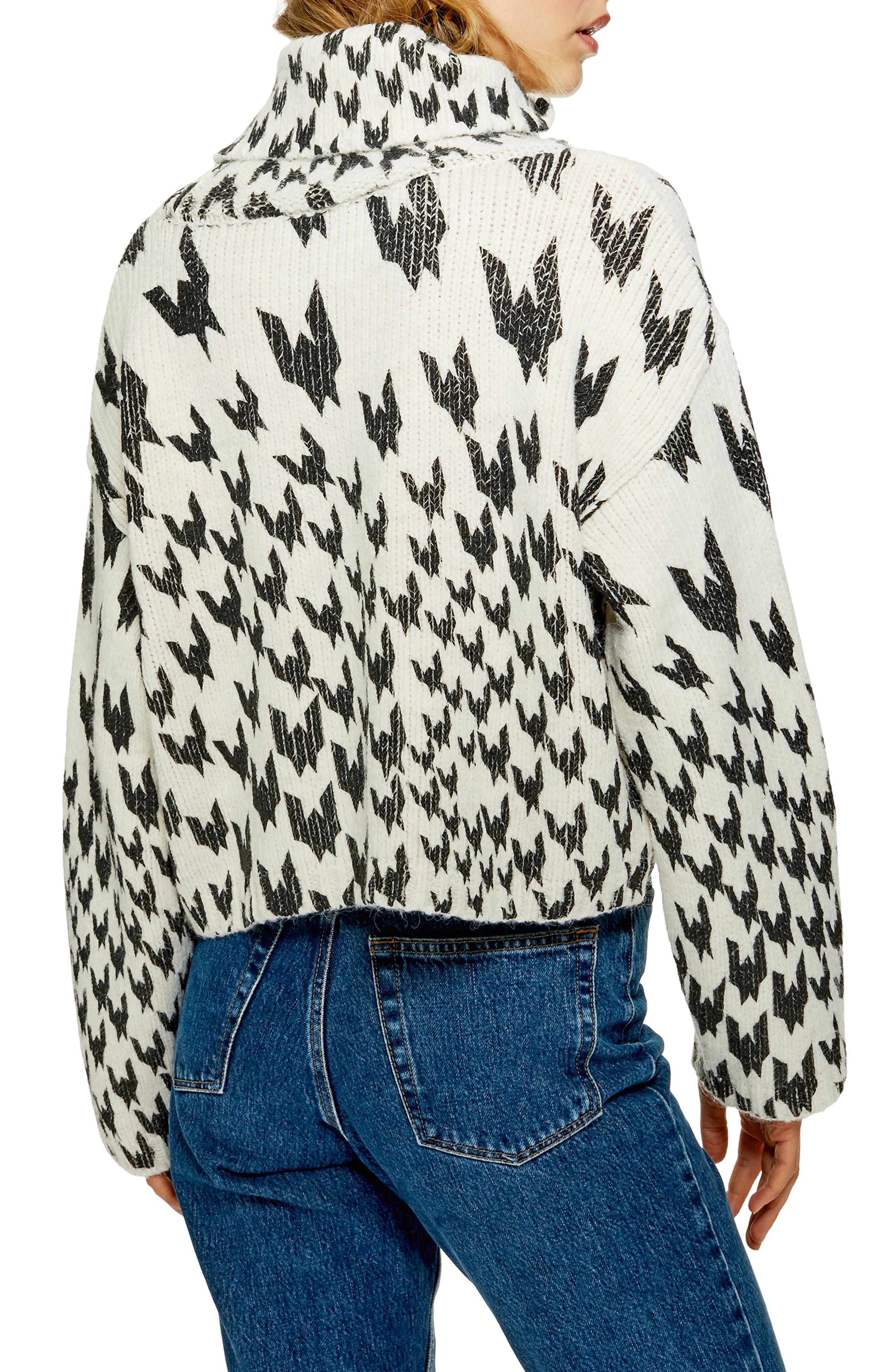 TOPSHOP,                             Dogtooth Chunky Roll Neck Sweater,                             Alternate thumbnail 2, color,                             IVORY MULTI