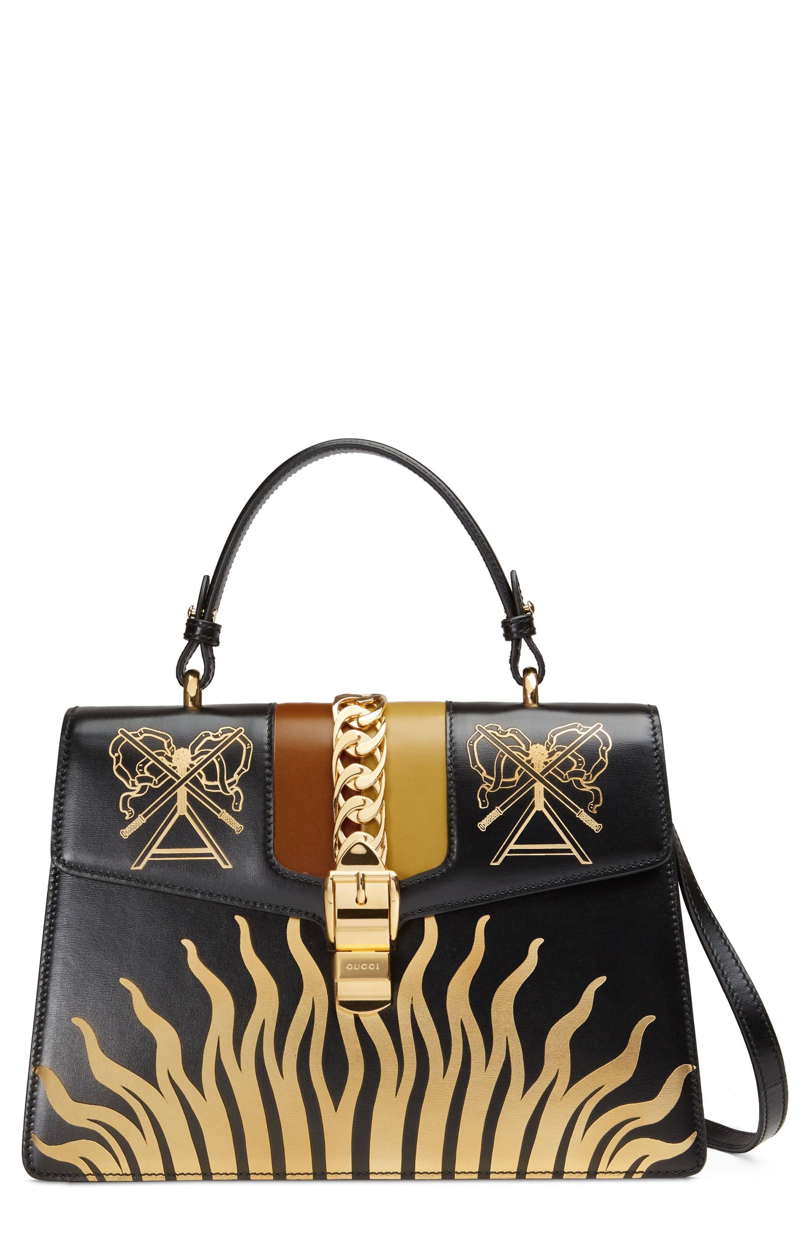 Medium Sylvie Top Handle Leather Bag,                         Main,                         color, BLACK GOLD/ CARAMEL/ OCHRE