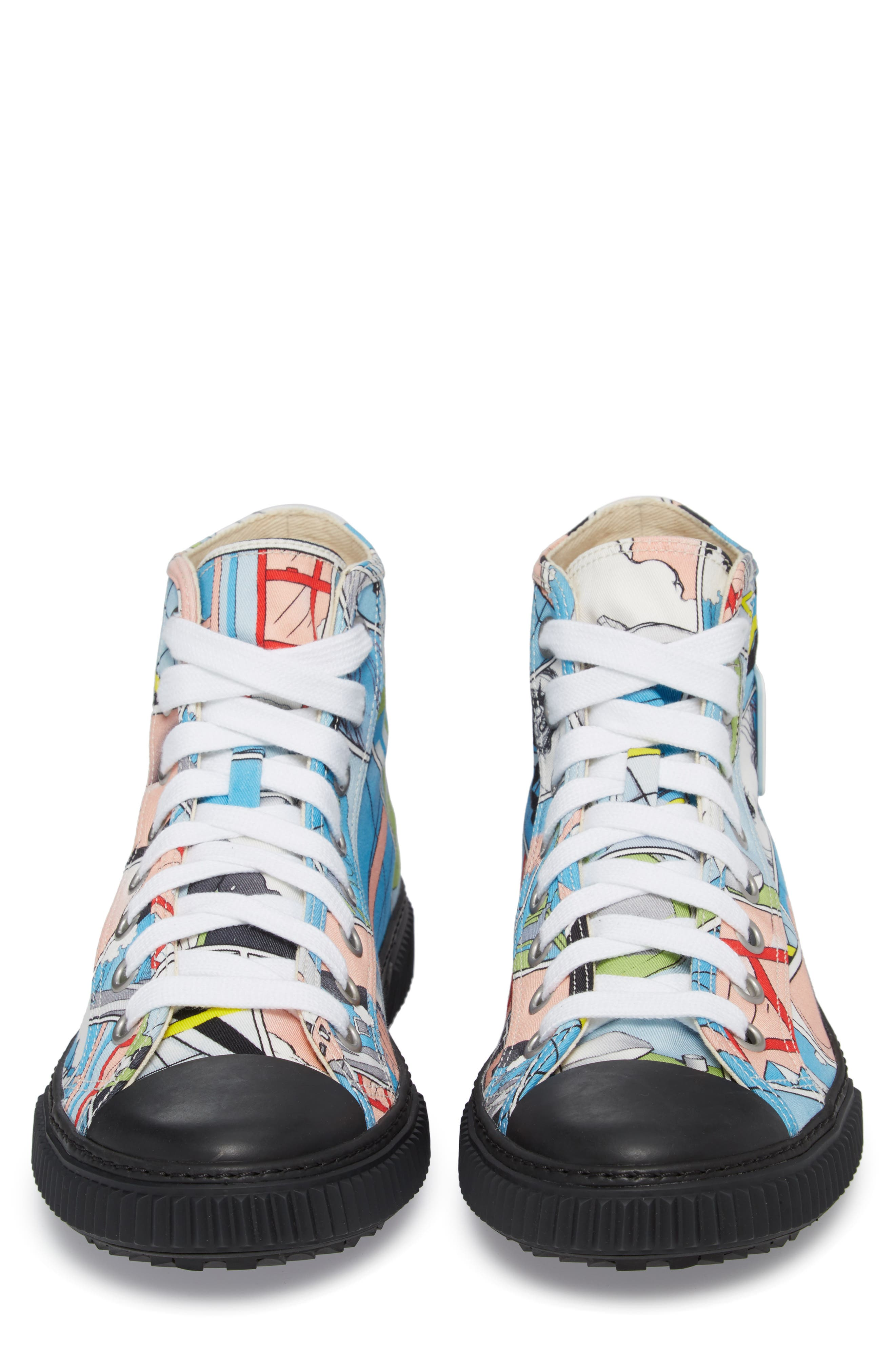 Comic Print High Top Sneaker,                             Alternate thumbnail 5, color,                             125