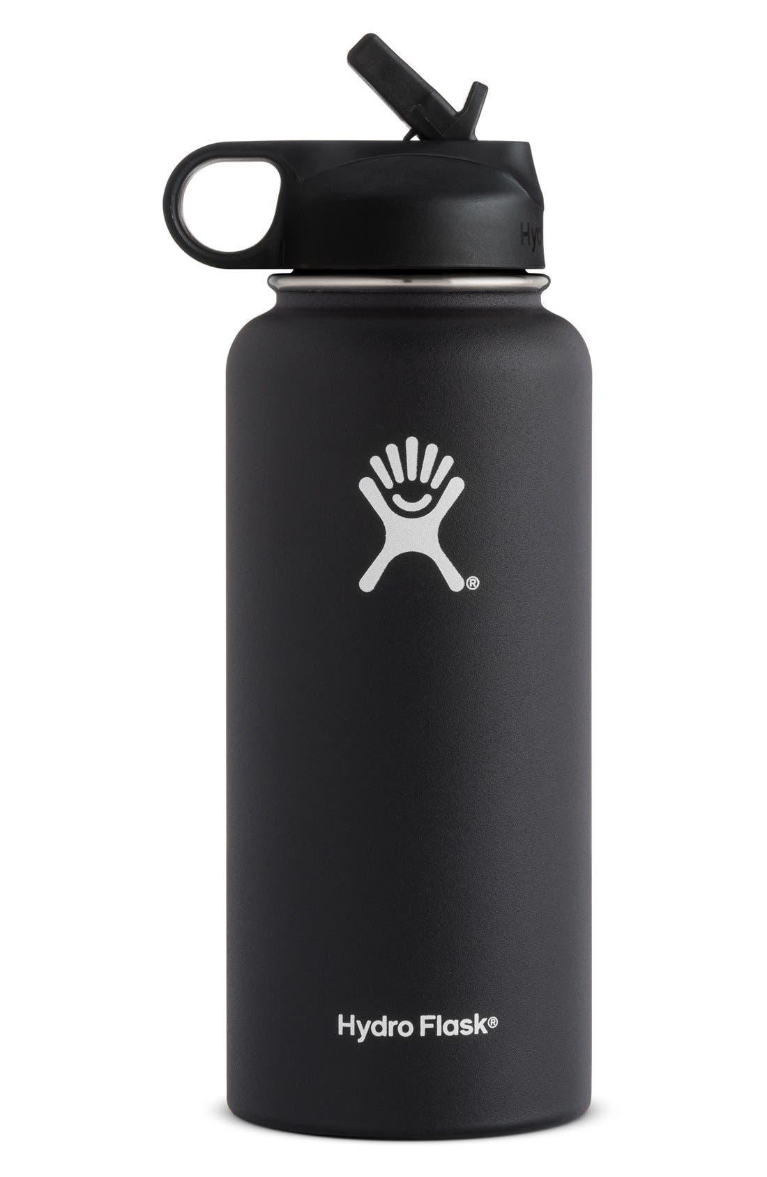 32-Ounce Wide Mouth Bottle with Straw Lid,                             Main thumbnail 1, color,                             BLACK