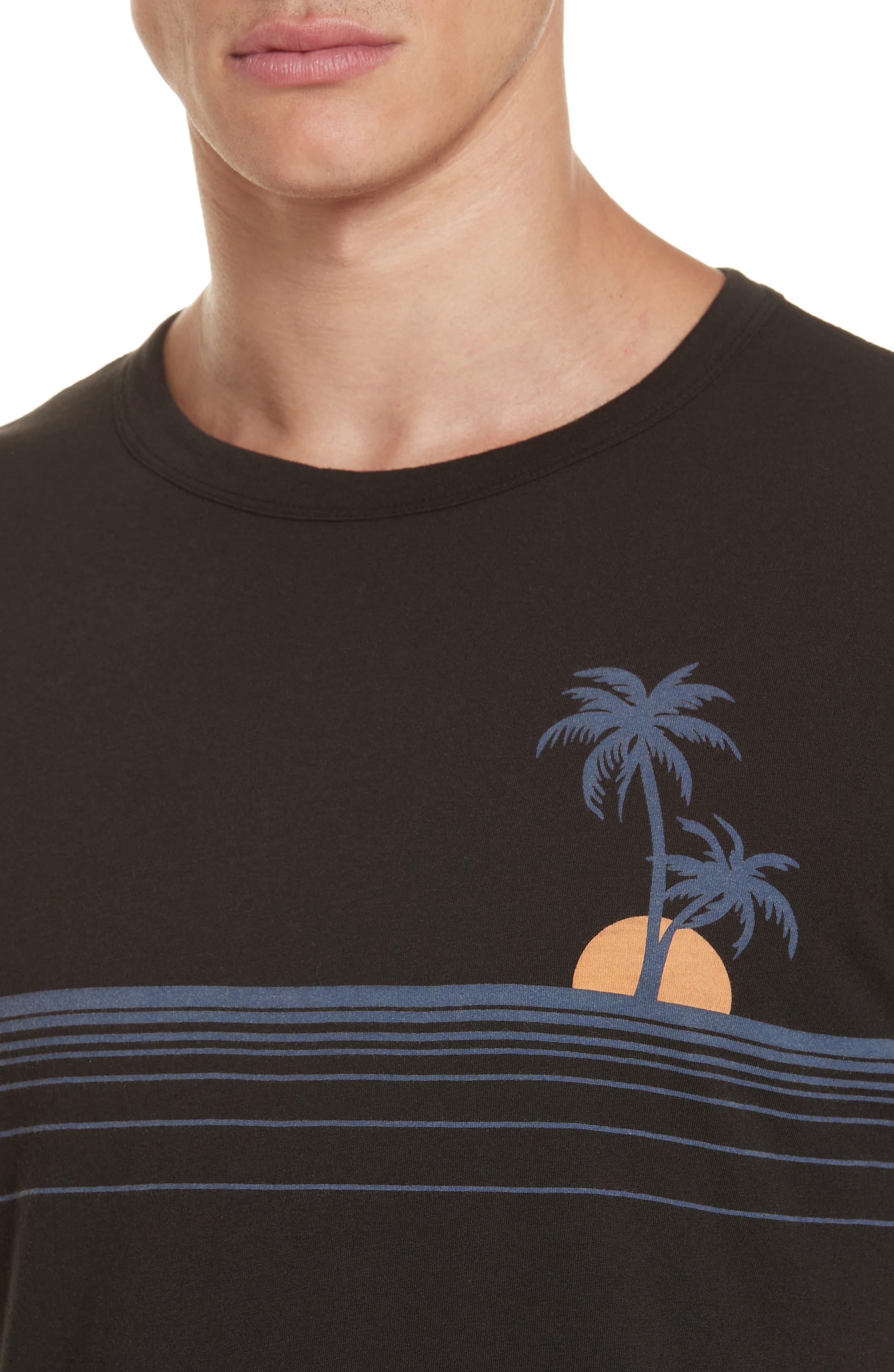 Johnny Chest Palm Stripe Graphic T-Shirt,                             Alternate thumbnail 4, color,                             BLACK