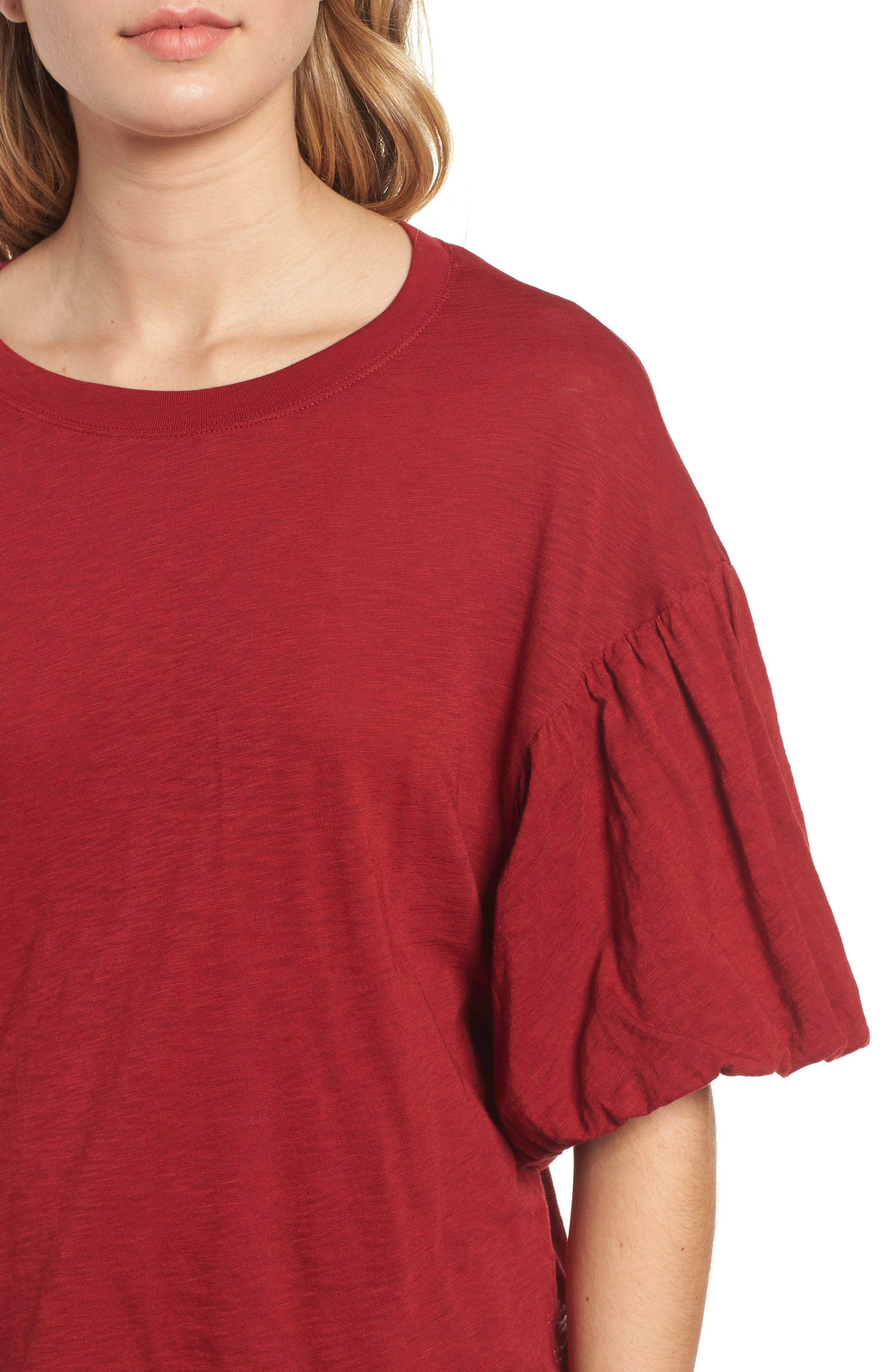 Ruffle Sleeve Slub Tee,                             Alternate thumbnail 4, color,                             DEEP RED