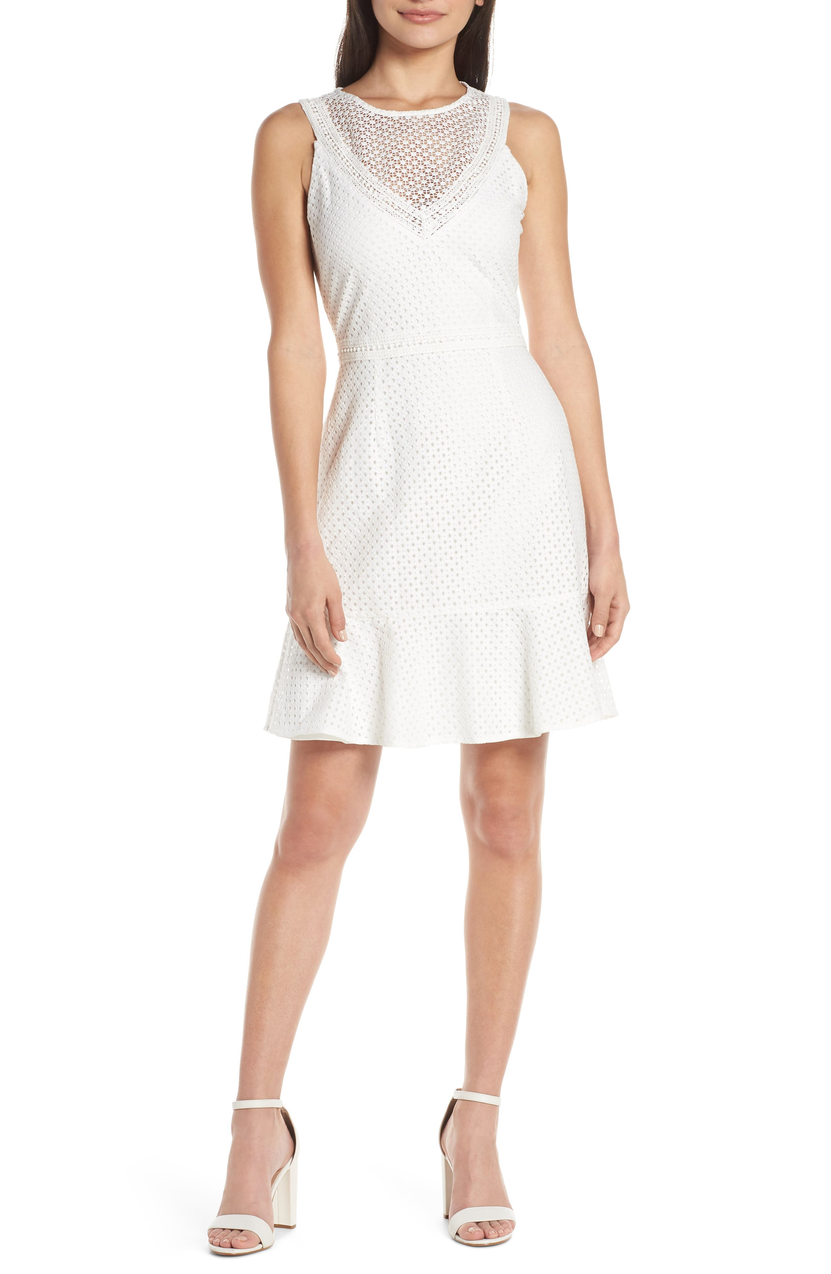 Chelsea28 Sleeveless Lace Dress, White