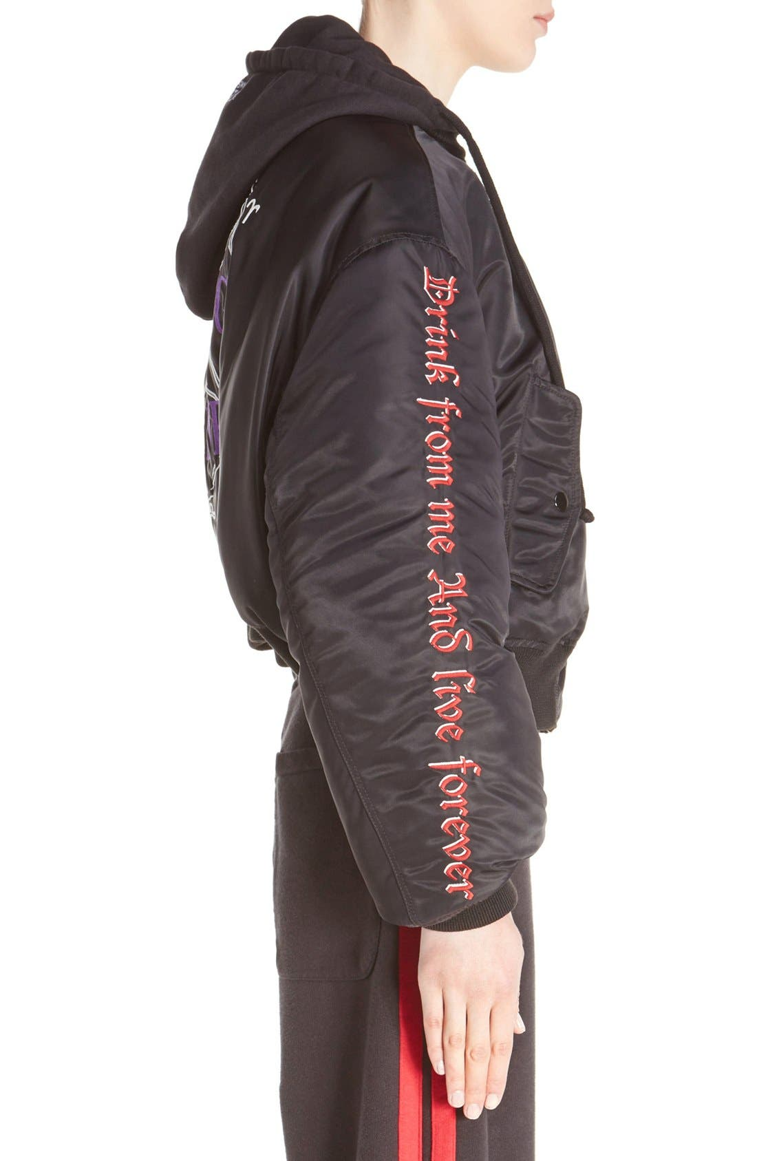 Embroidered Bomber Jacket,                             Alternate thumbnail 5, color,                             001