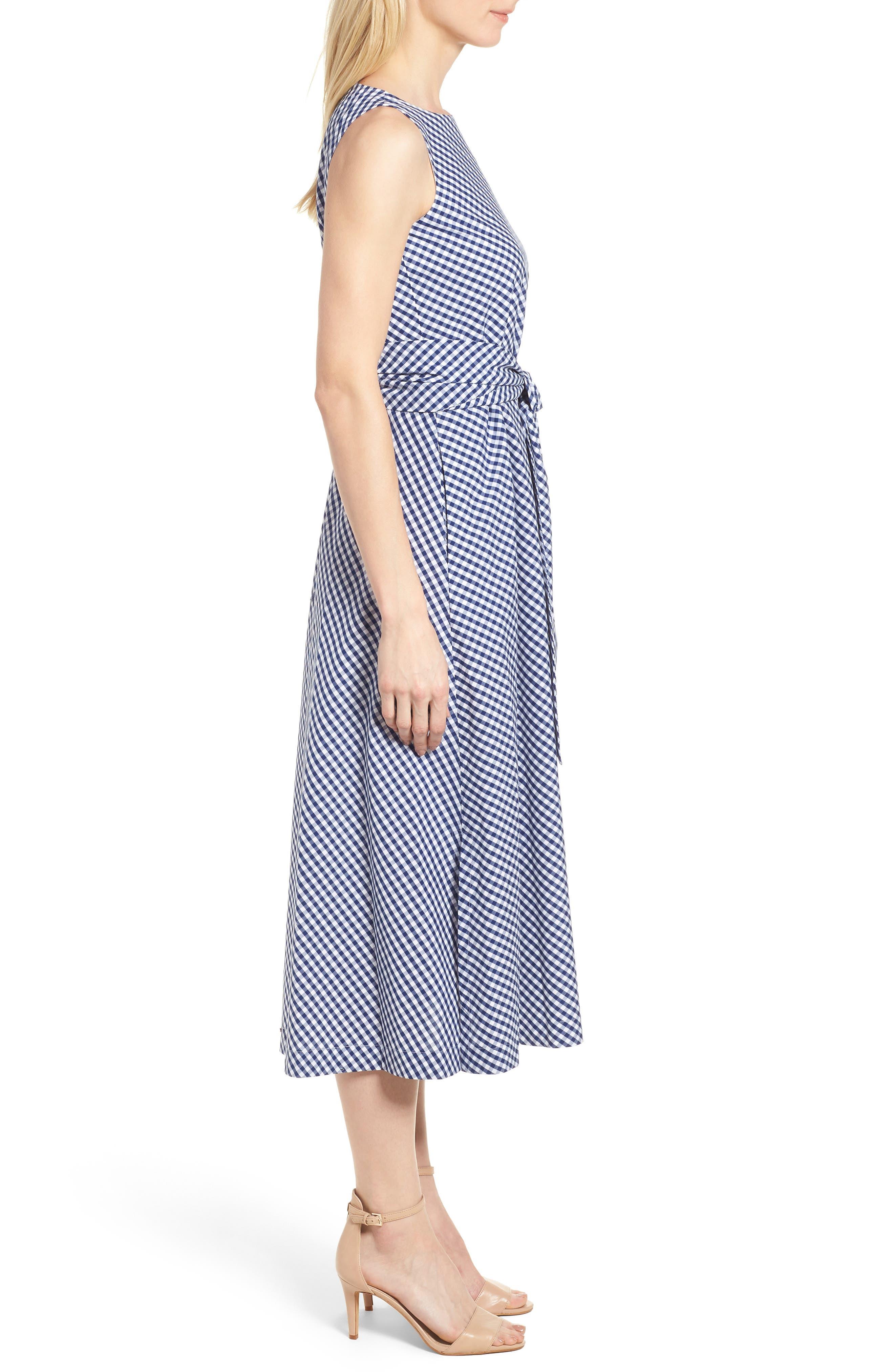 Cotton Gingham Midi Dress,                             Alternate thumbnail 3, color,                             400