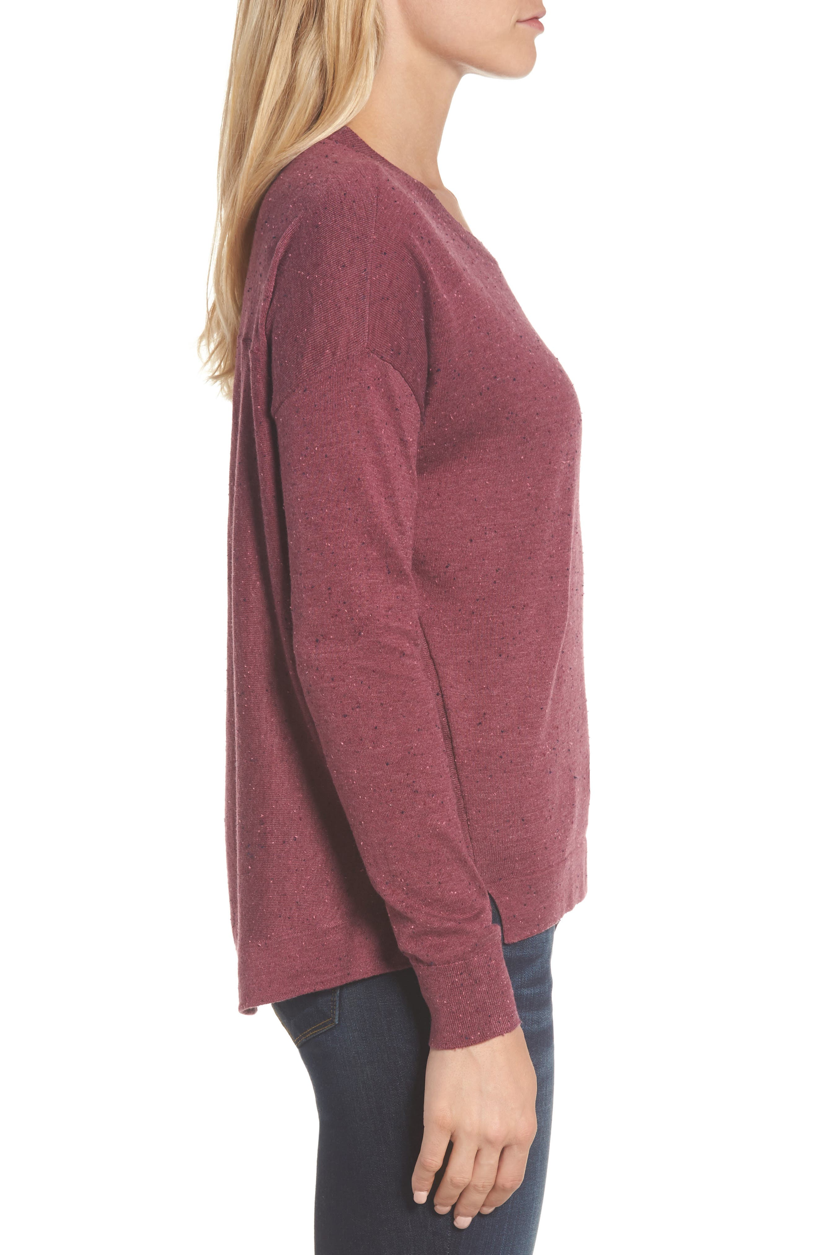 Pleat Back High/Low Crewneck Sweater,                             Alternate thumbnail 21, color,
