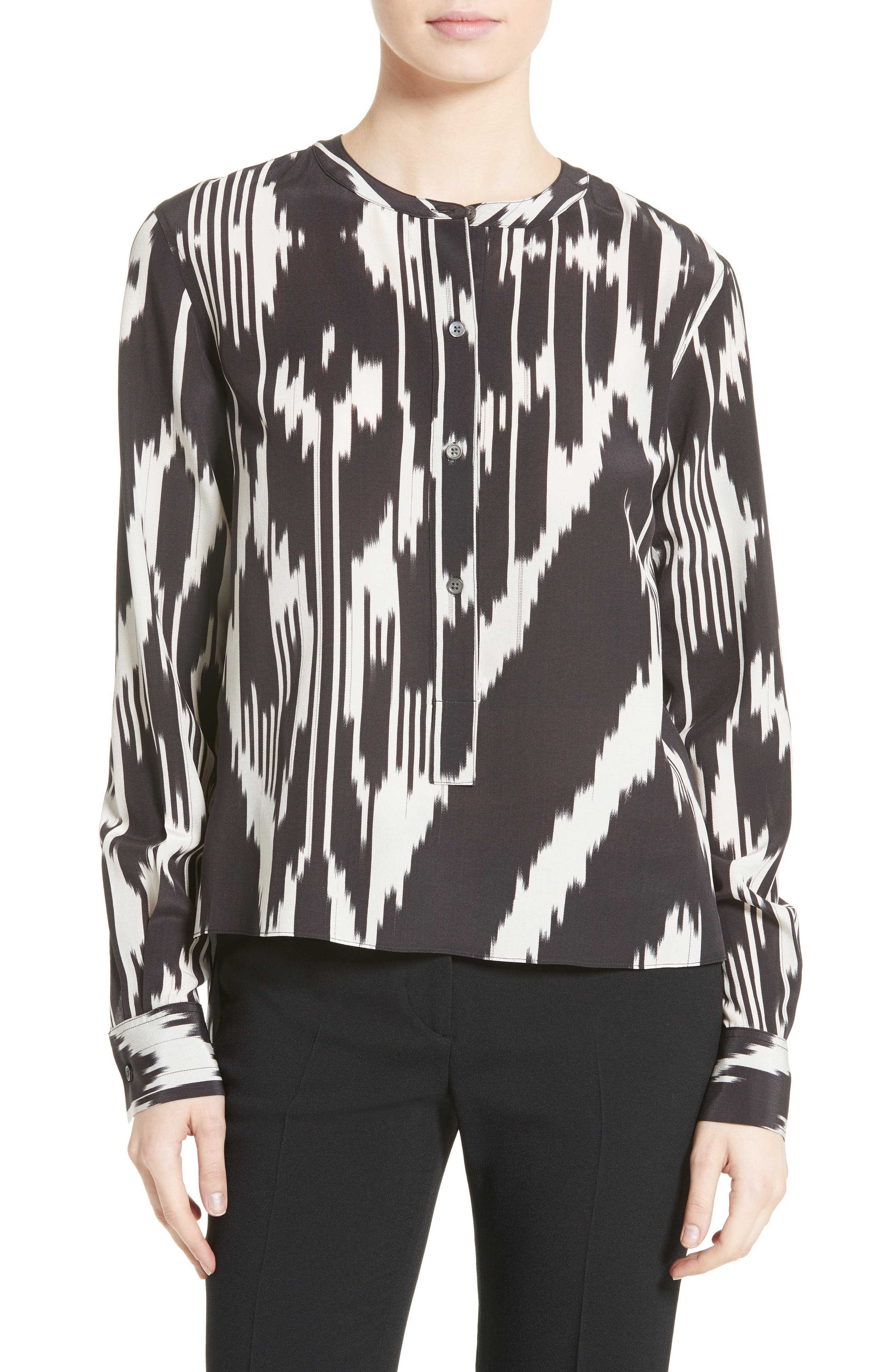 Isalva Interlace Ikat Silk Top,                             Main thumbnail 1, color,                             015