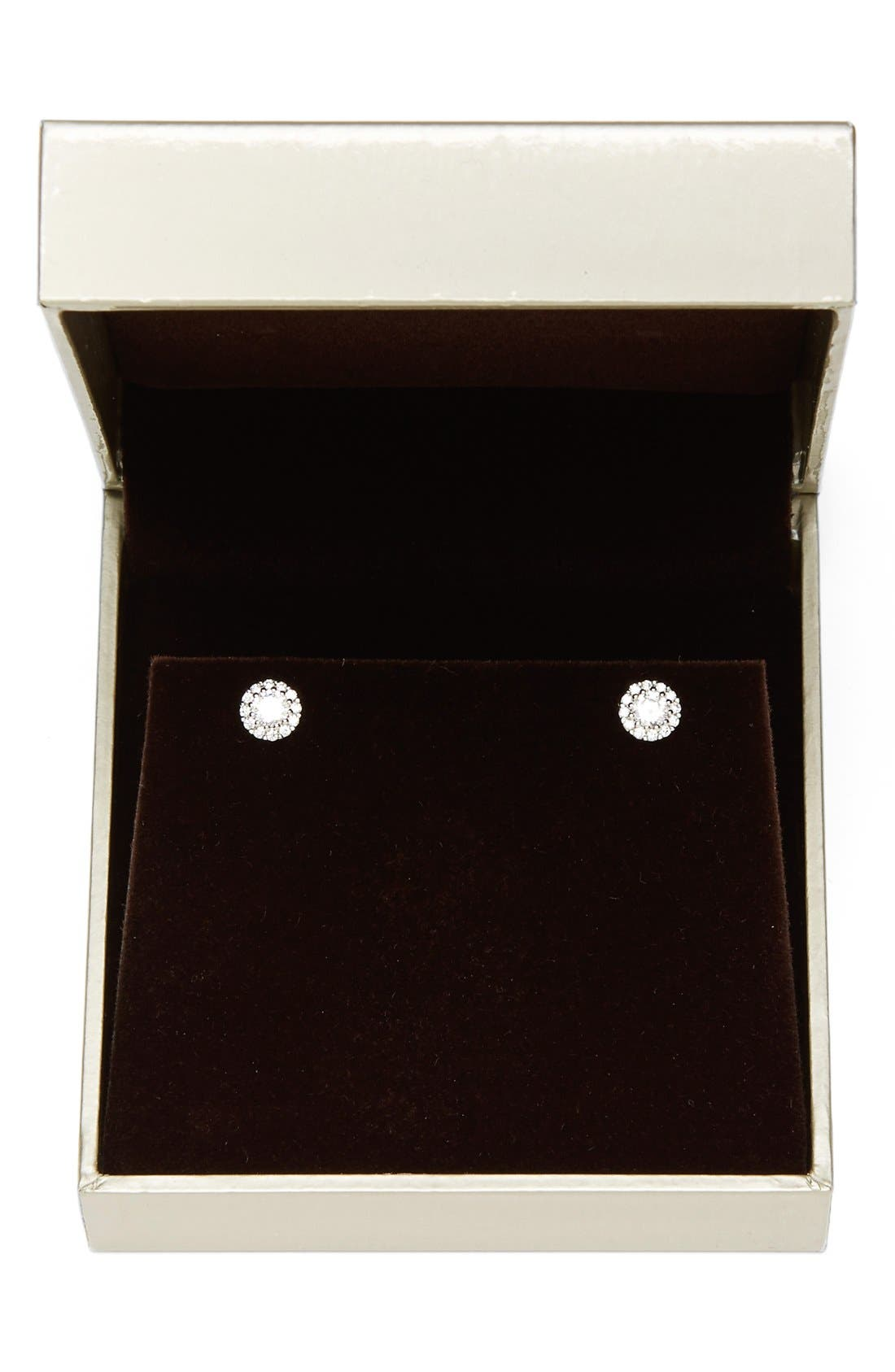 Precious Metal Plated Cubic Zirconia Stud Earrings,                             Alternate thumbnail 2, color,                             PLATINUM