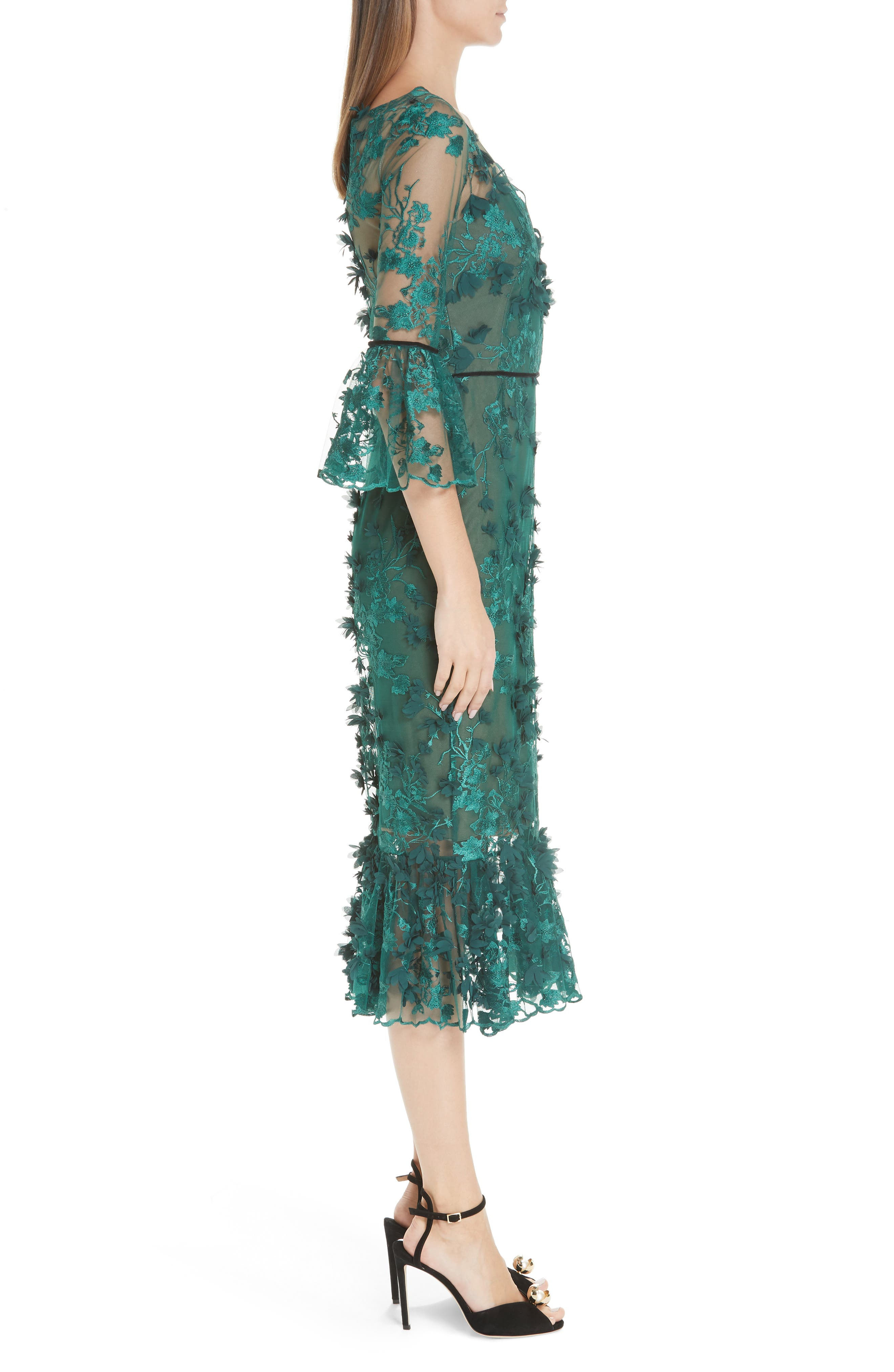 MARCHESA NOTTE,                             Embroidered Ruffle Trim Sheath Dress,                             Alternate thumbnail 3, color,                             300