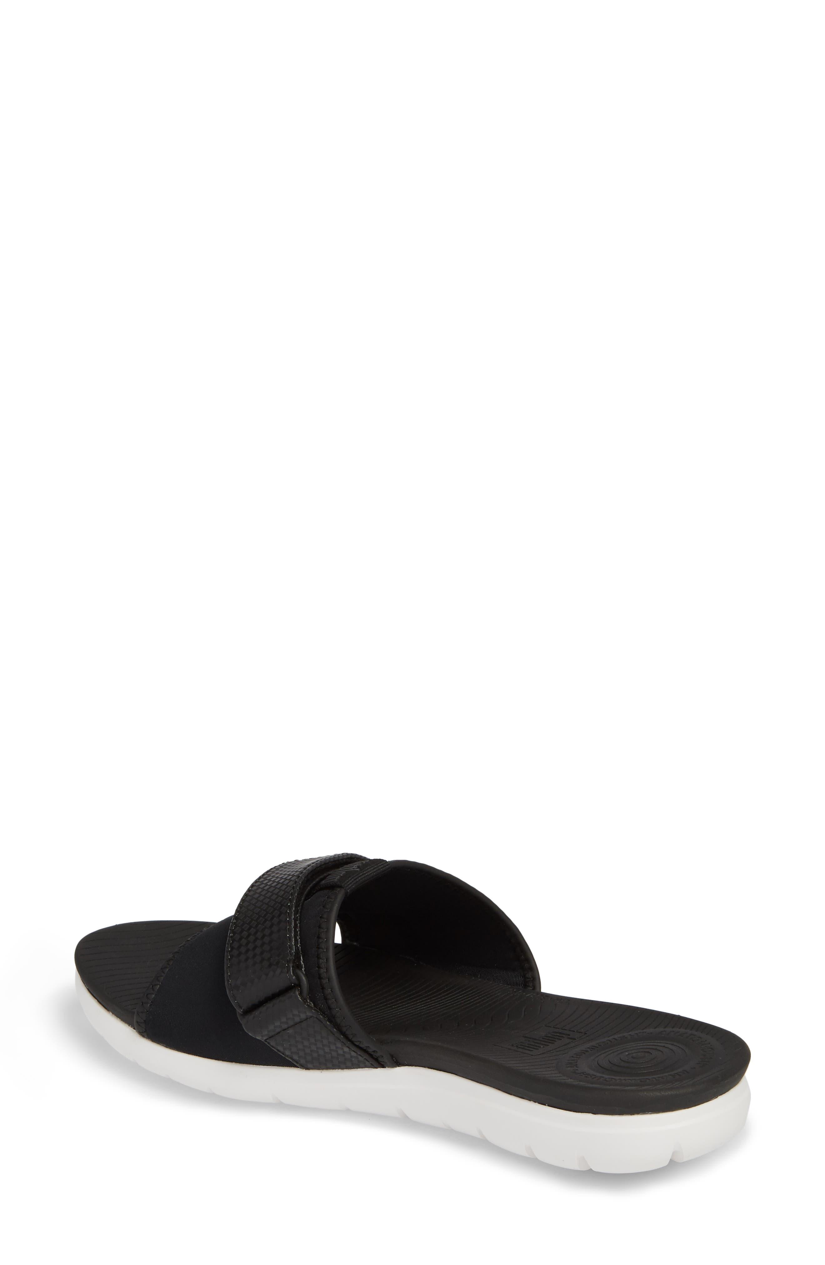 Neoflex Slide Sandal,                             Alternate thumbnail 2, color,                             BLACK FABRIC