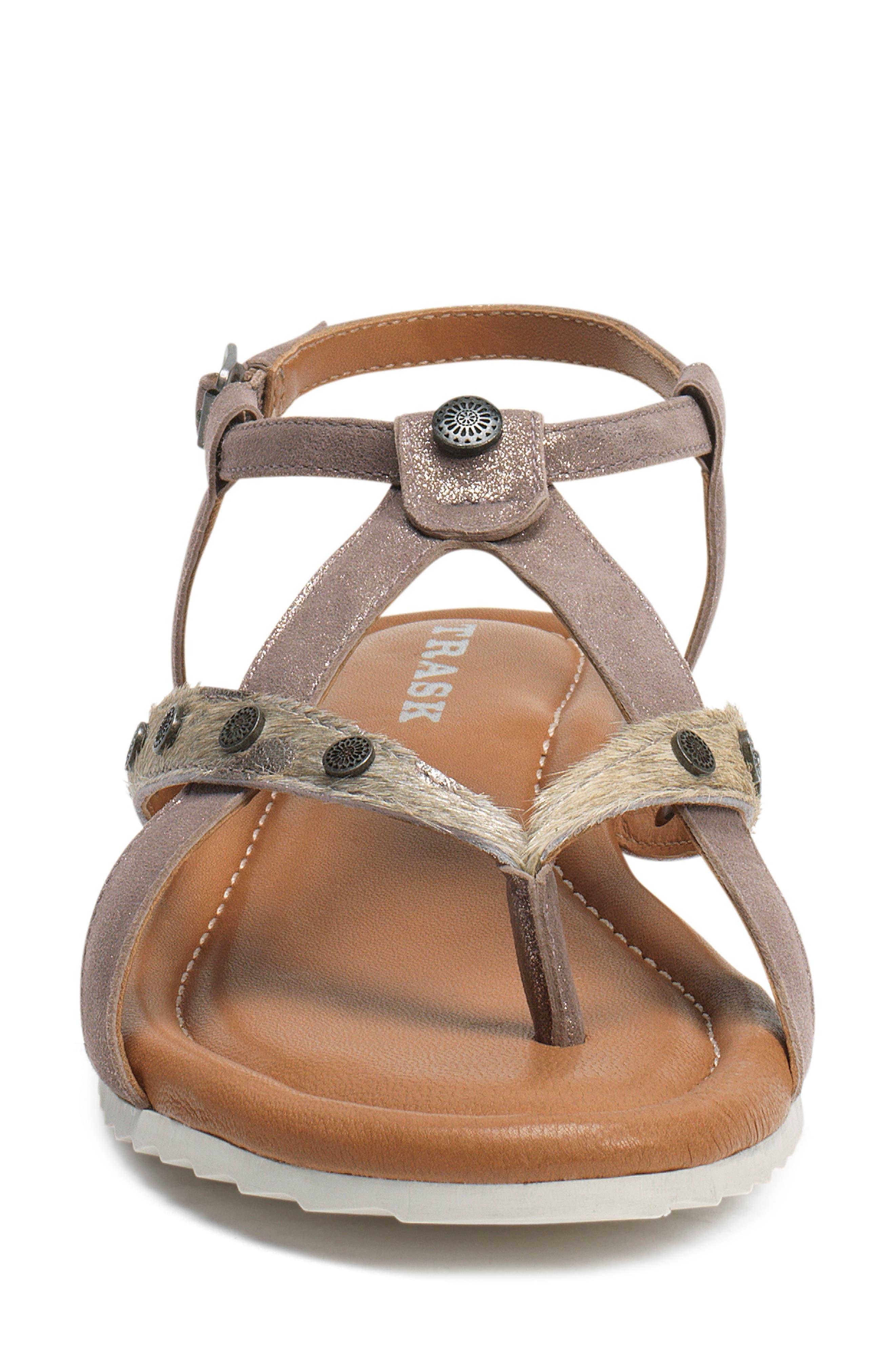 Shayla Water Resistant Sandal,                             Alternate thumbnail 4, color,                             PEWTER/ BONE SUEDE