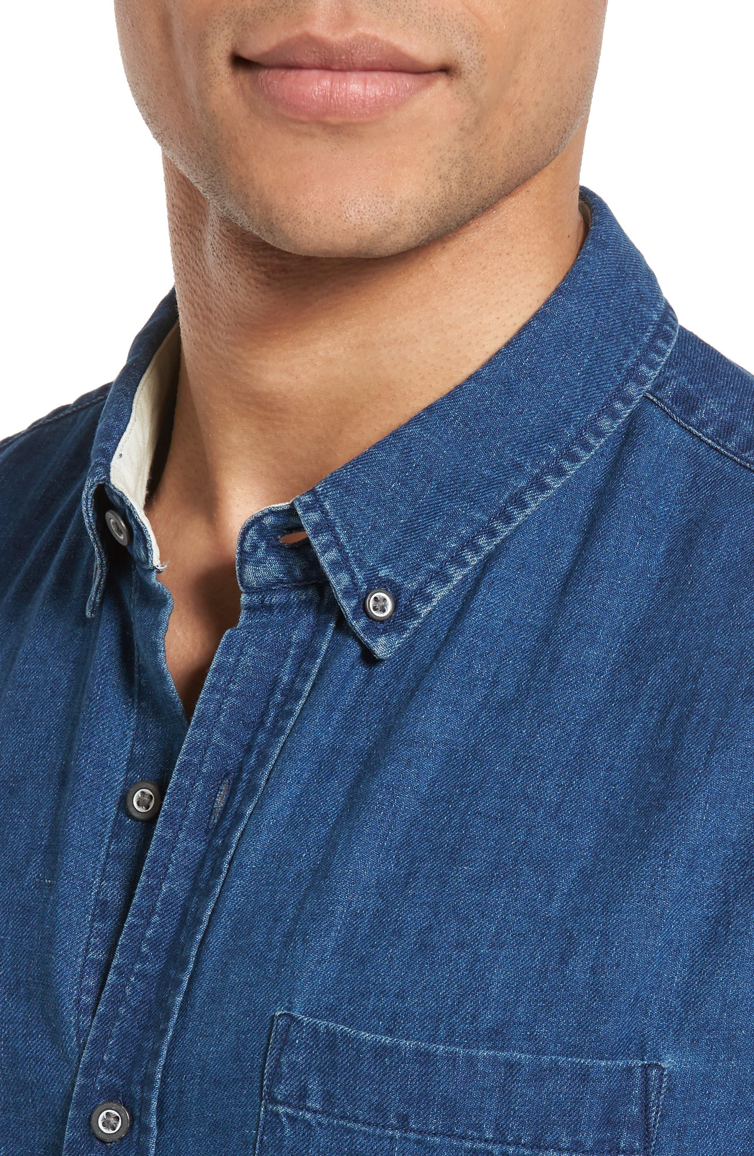 Nash Slim Fit Linen & Cotton Sport Shirt,                             Alternate thumbnail 4, color,                             404