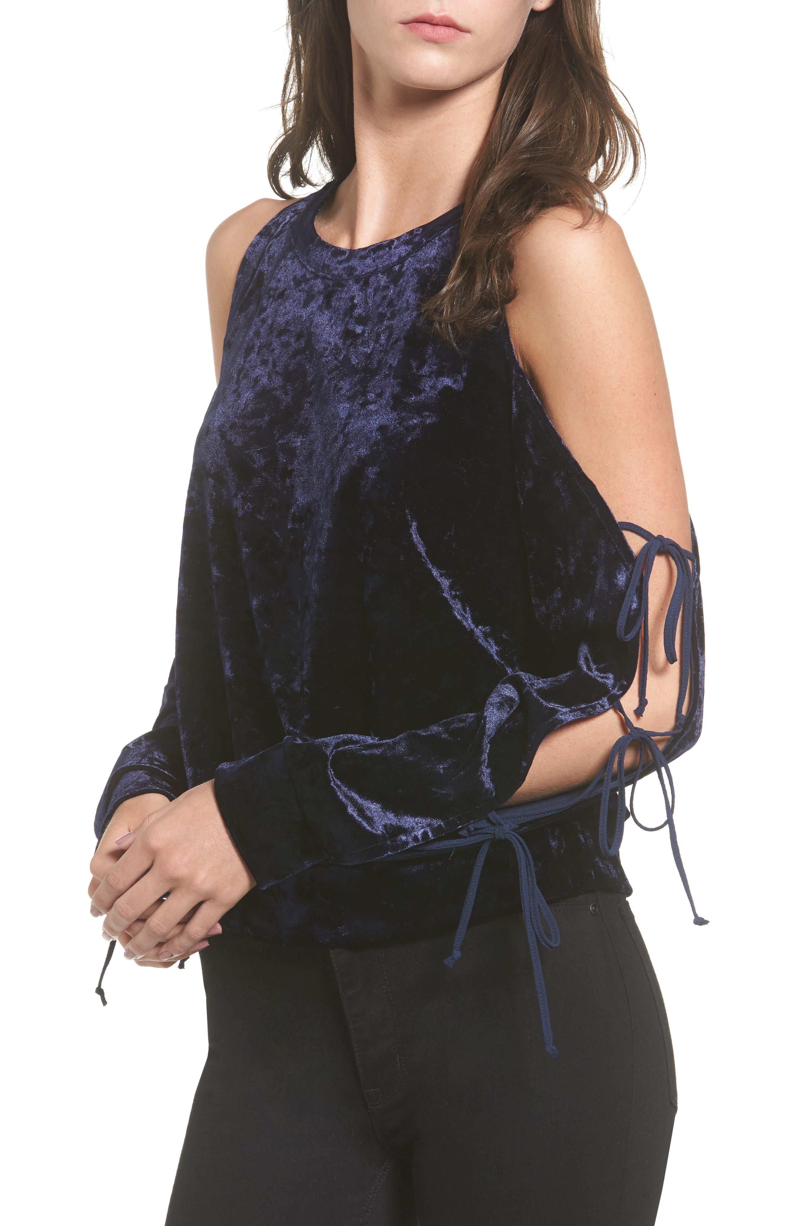 Crushed Velvet Cold Shoulder Sweatshirt,                         Main,                         color, 412