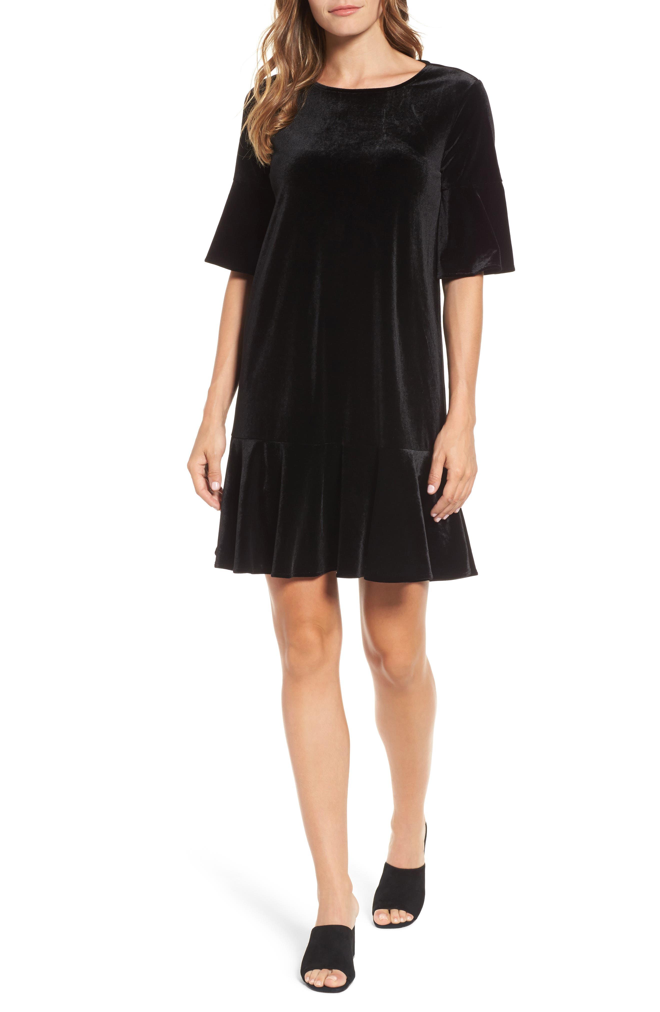 Ruffle Trim Velvet Dress,                             Alternate thumbnail 6, color,                             BLACK
